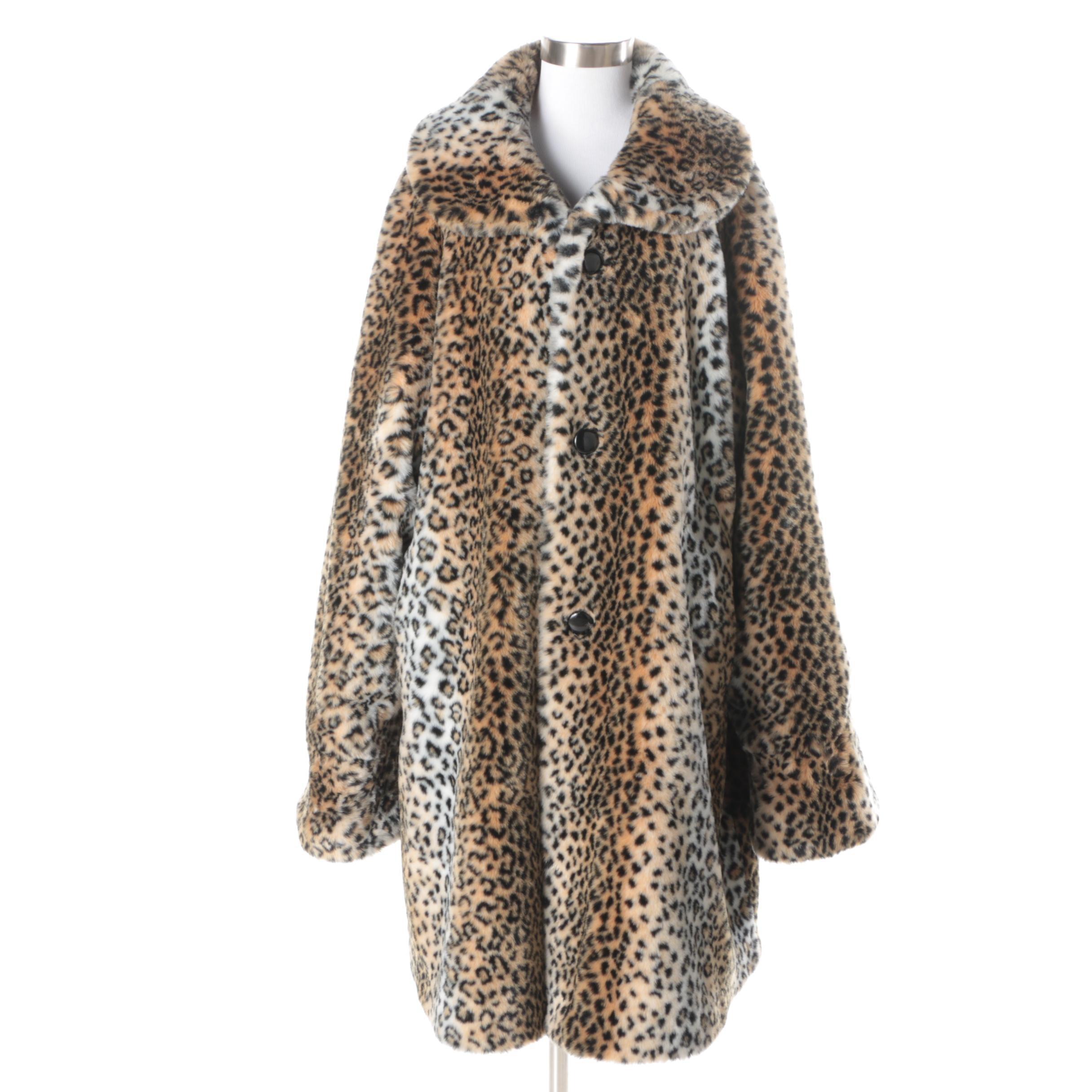Women's Faux Leopard and Faux Leather Reversible Coat