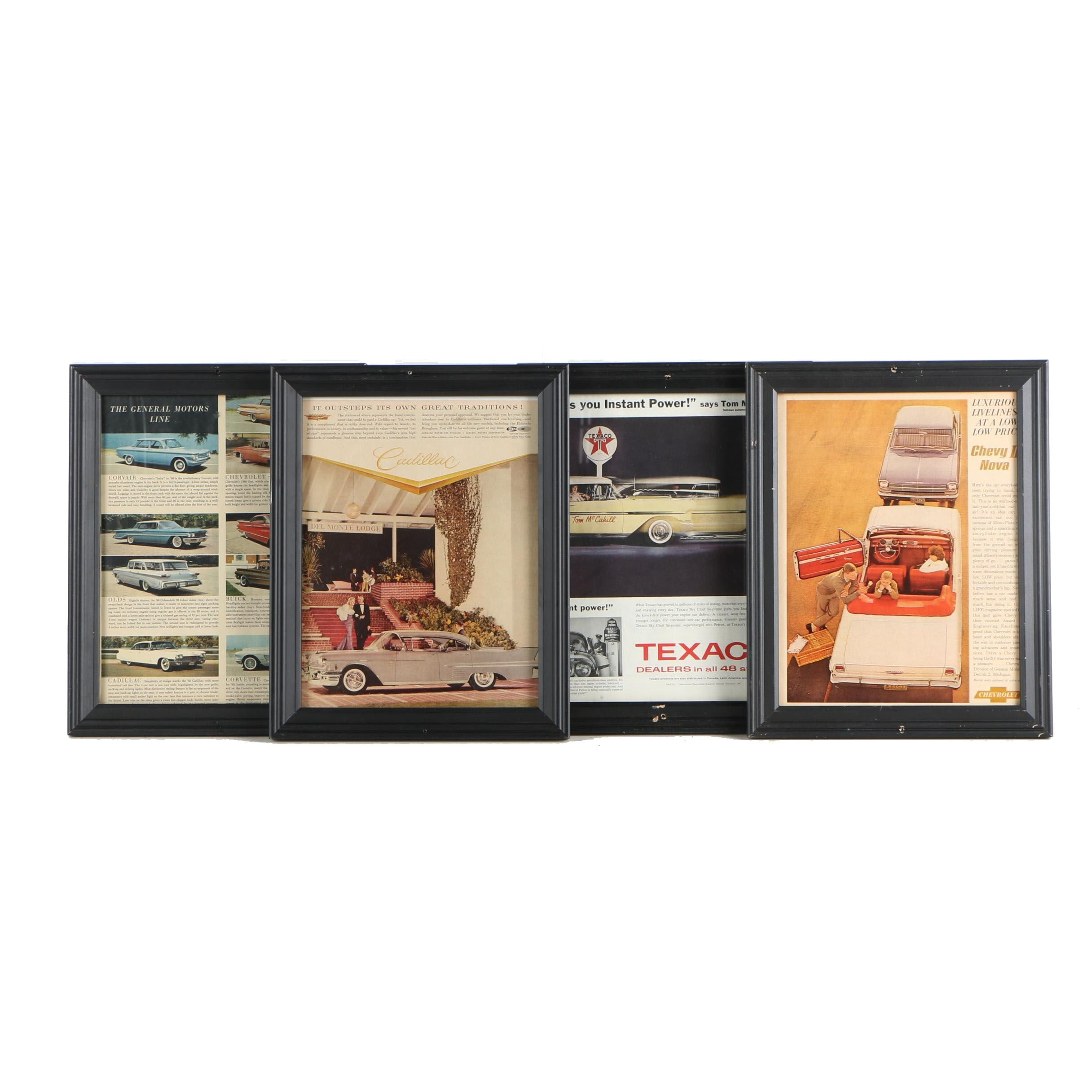 Four Offset Lithograph Magazine Advertisements for Mid Century Automobiles
