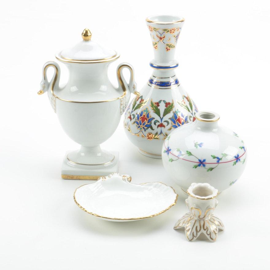 White Porcelain Vases And Urn Including Herend Blue Garland Ebth