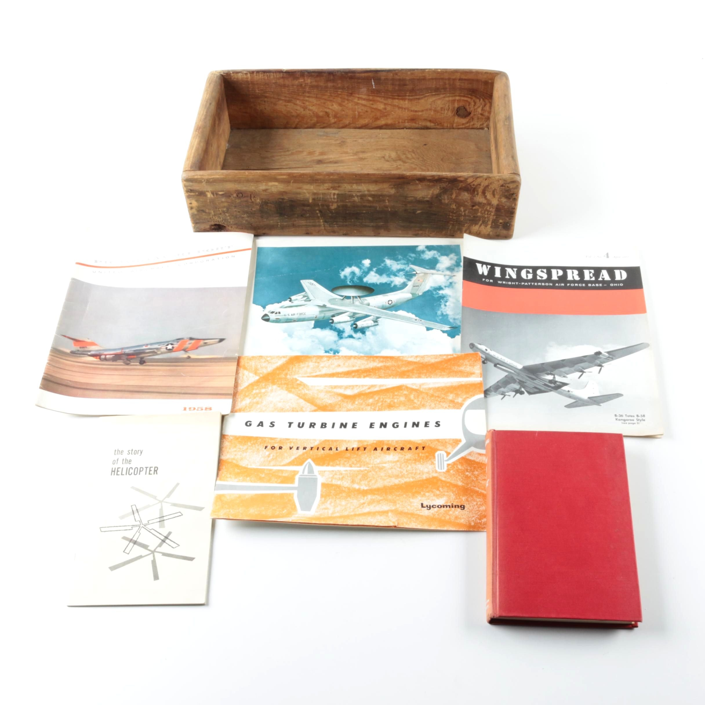 Wooden Box with Books on Aviation