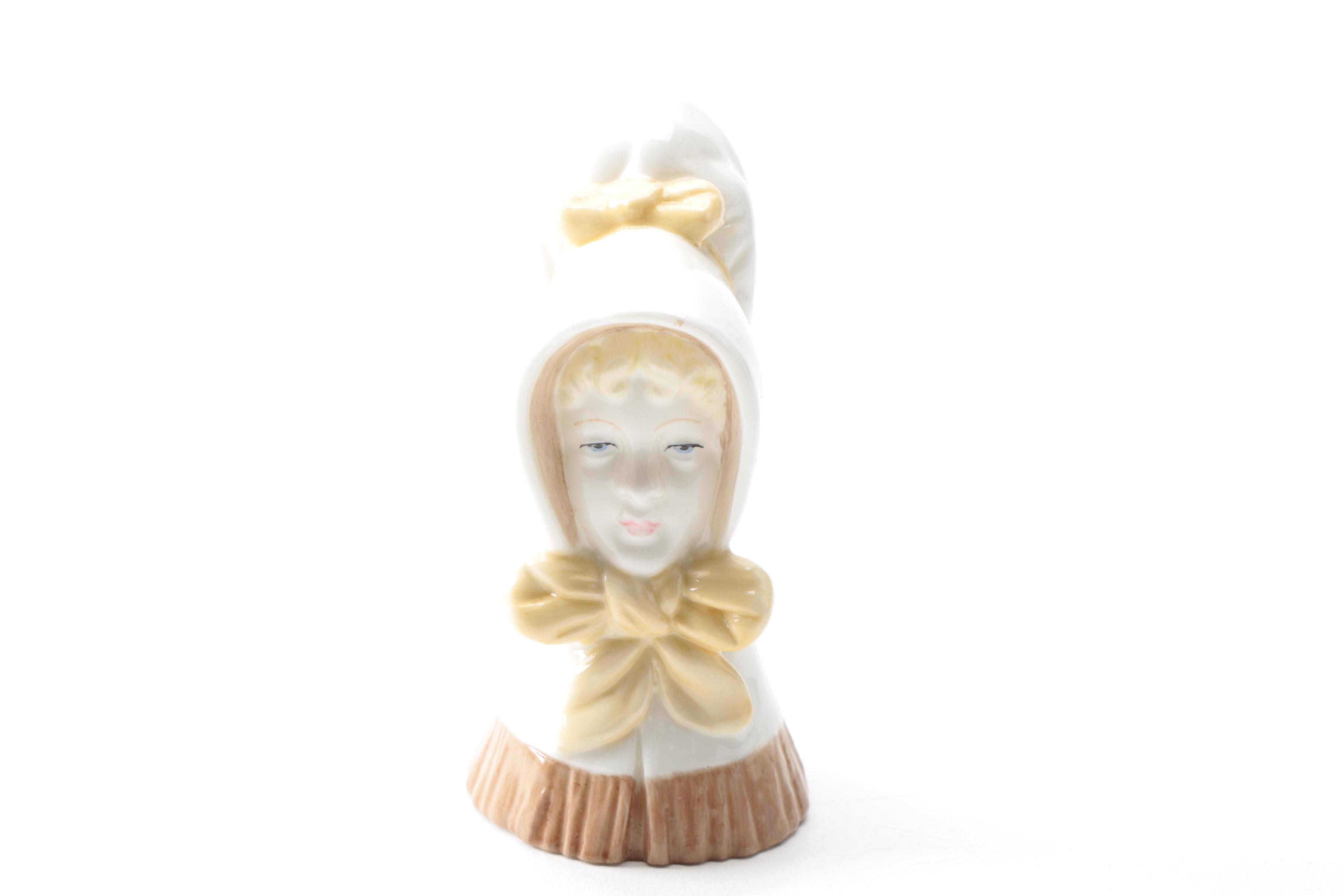 "Royal Worcester ""Young Girl"" Porcelain Candle Snuffer Head Figurine"
