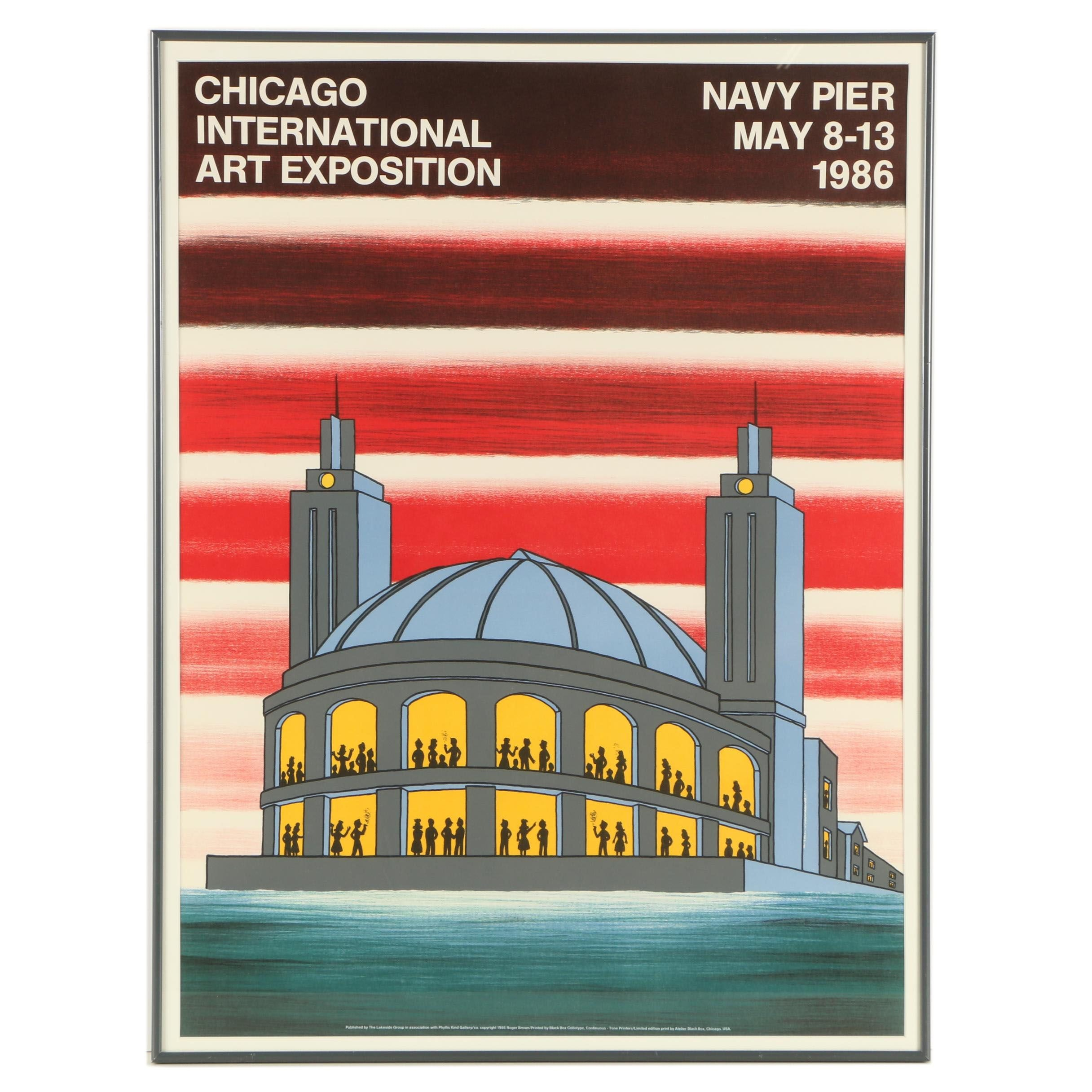 "Roger Brown Collotype Poster ""Chicago International Art Exposition"""