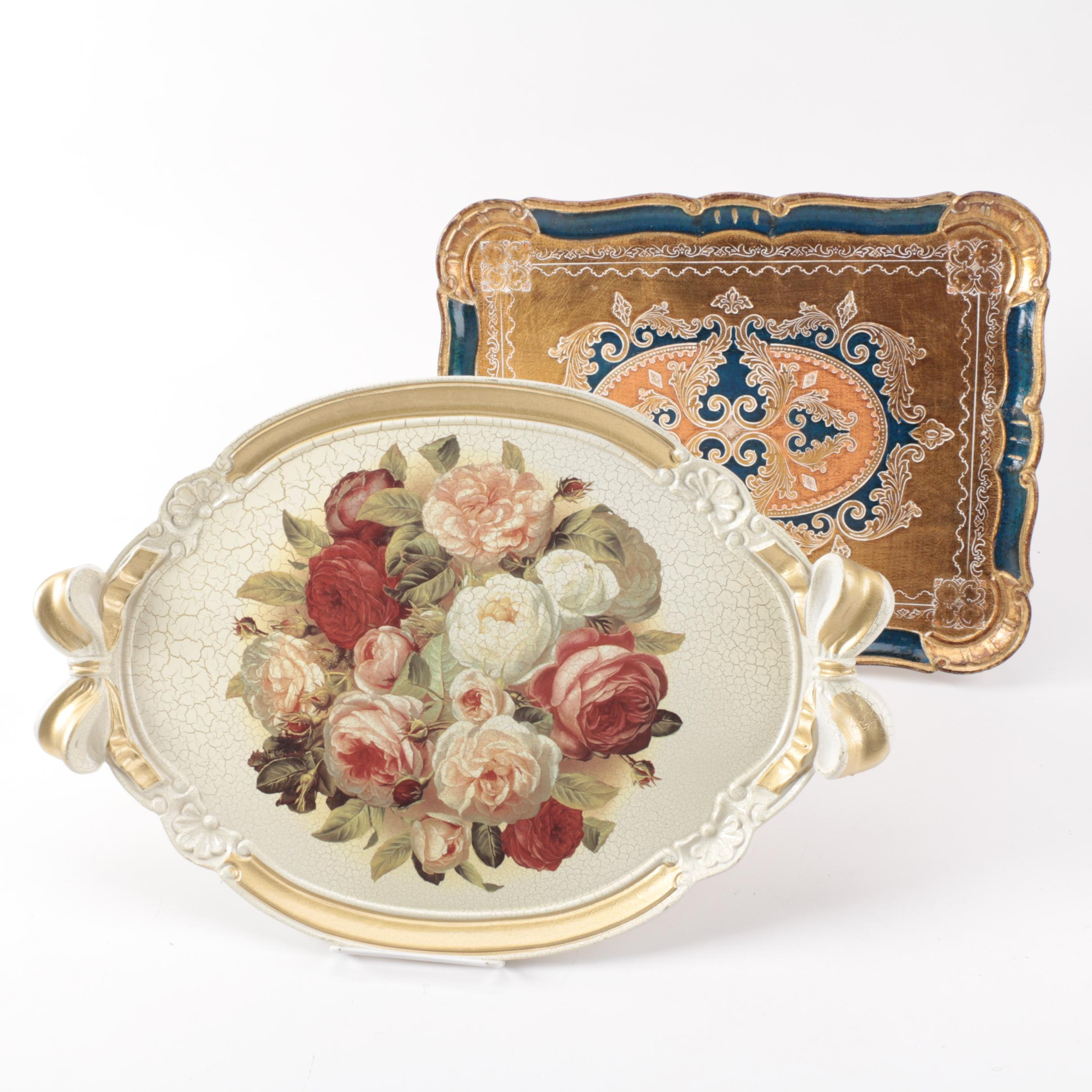 Italian Hand Decorated Florentine Serving Trays