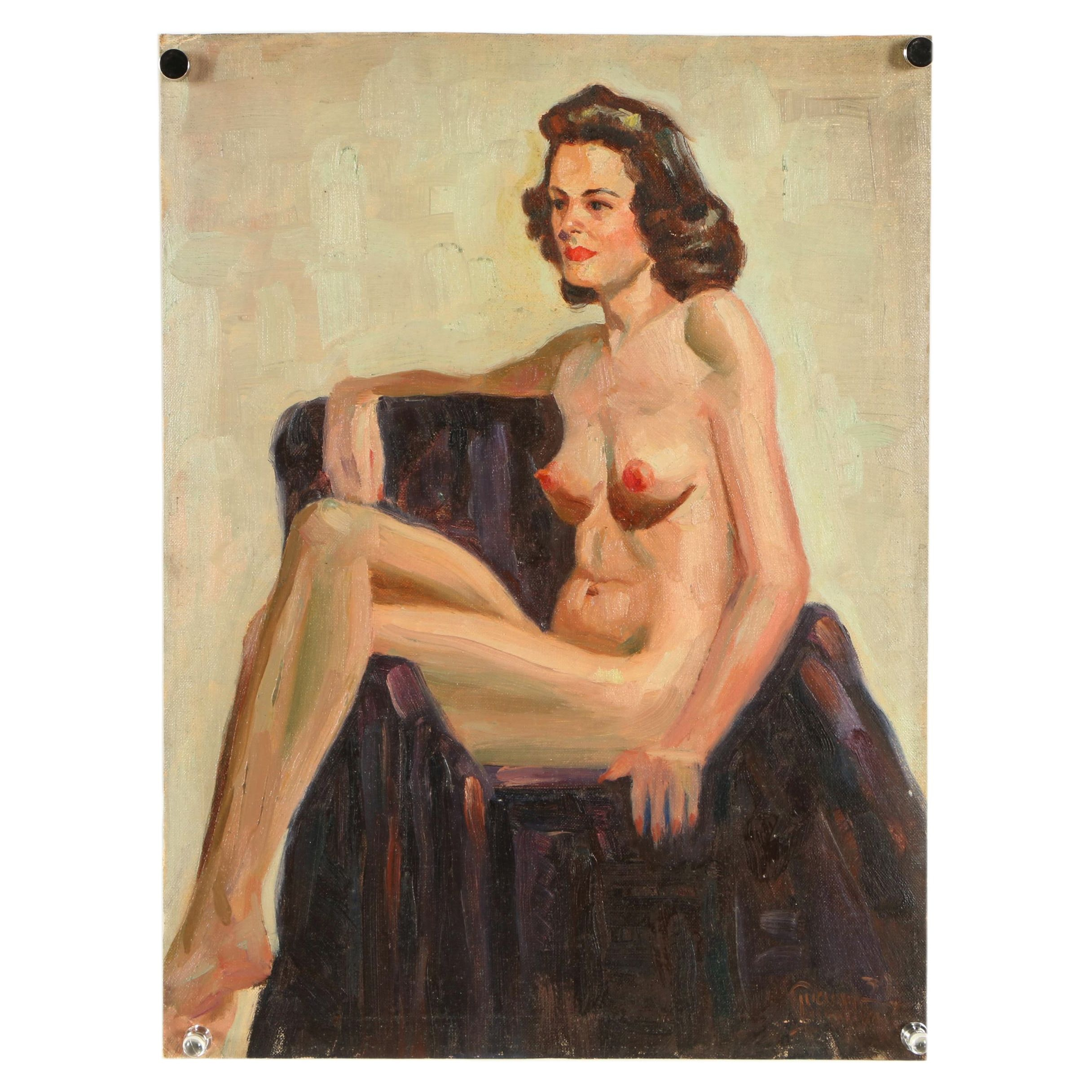 Lucian Lupinski 1939 Oil Painting of a Nude Figure