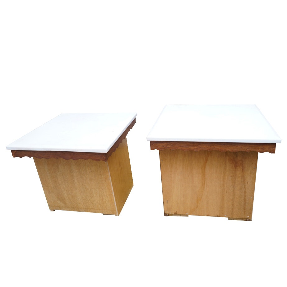 Stone Top Oak Finished Side Tables