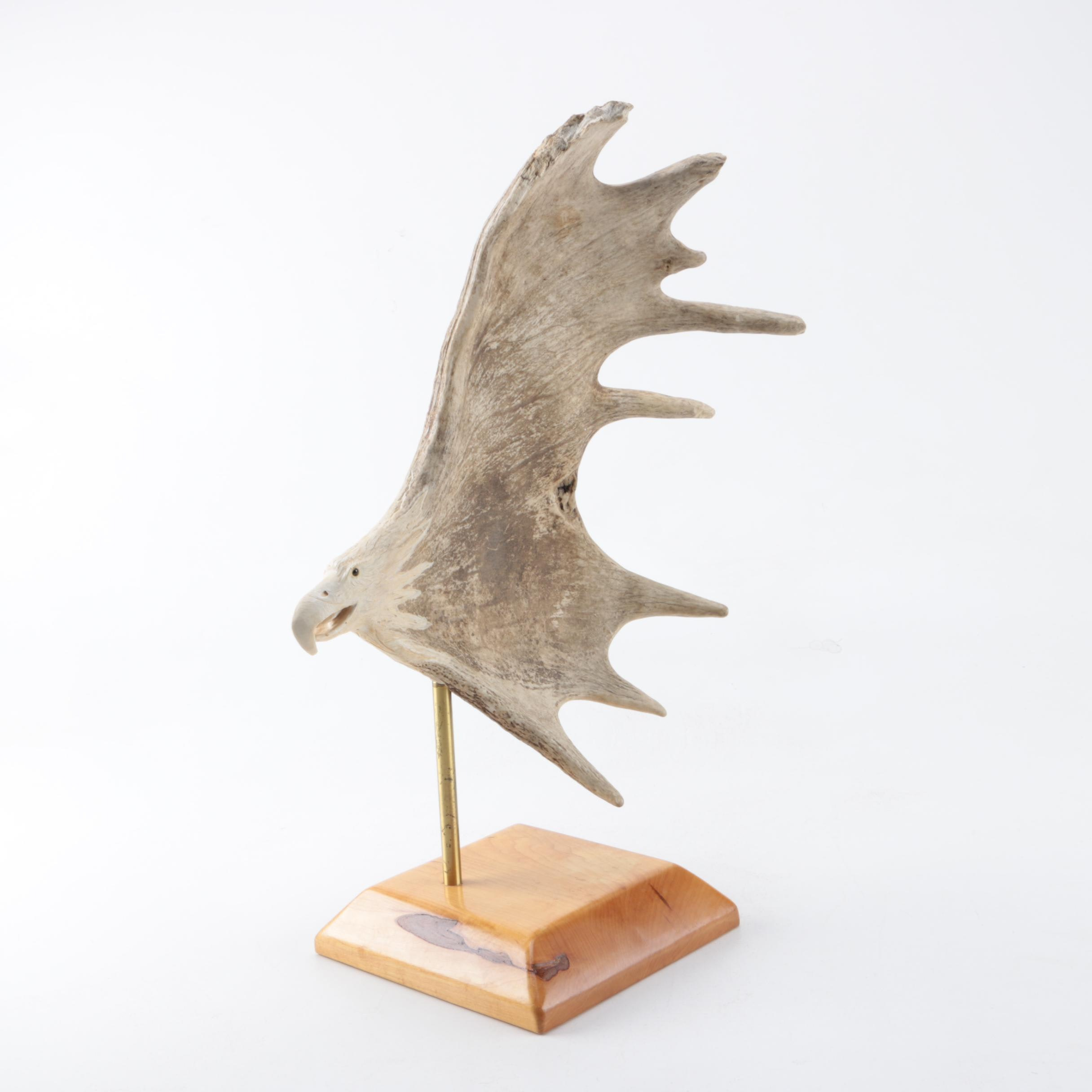 Moose Antler Eagle Carving