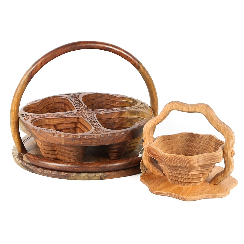 Amish Hand Carved Collapsible Baskets