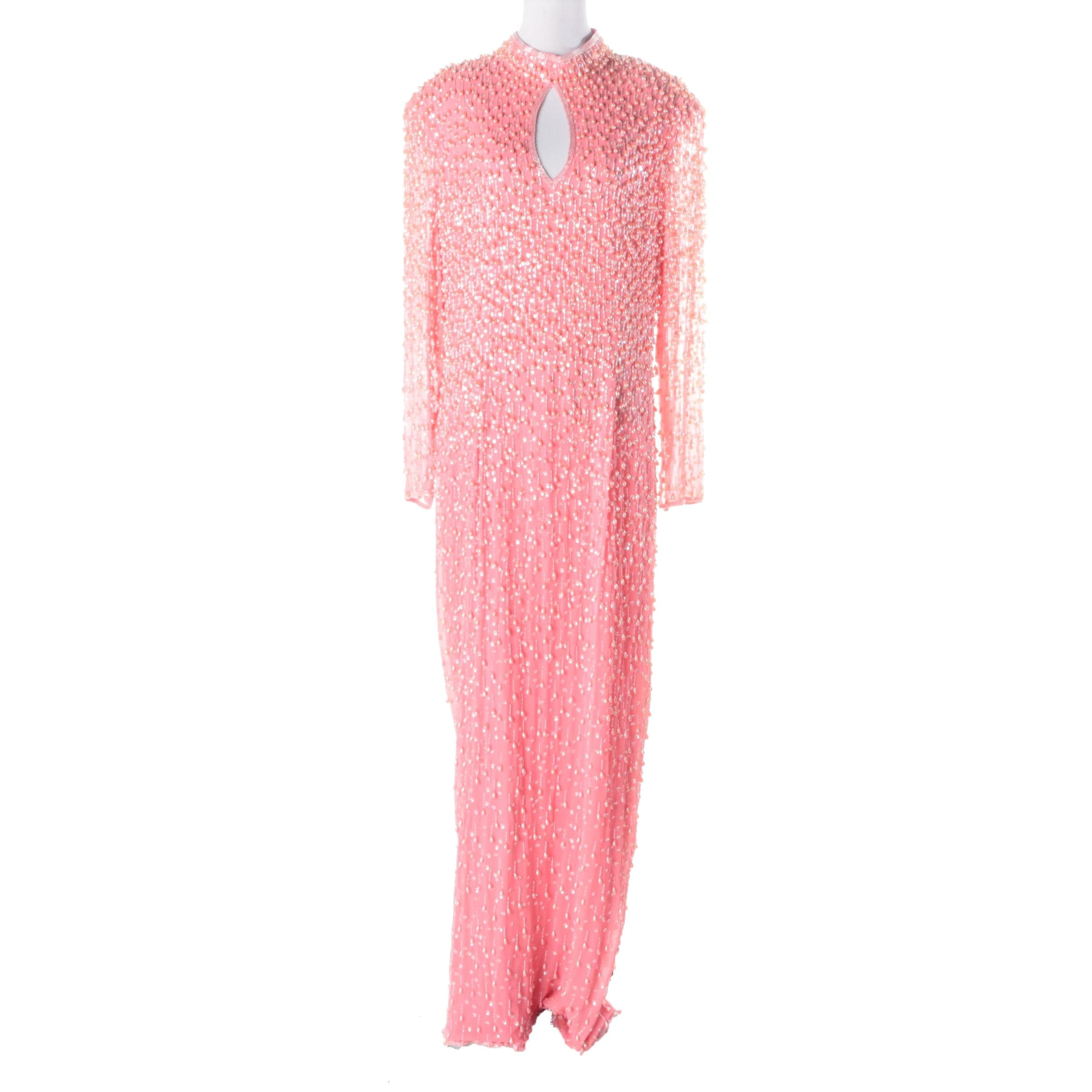 Alyce Embellished Pink Silk Occasion Gown