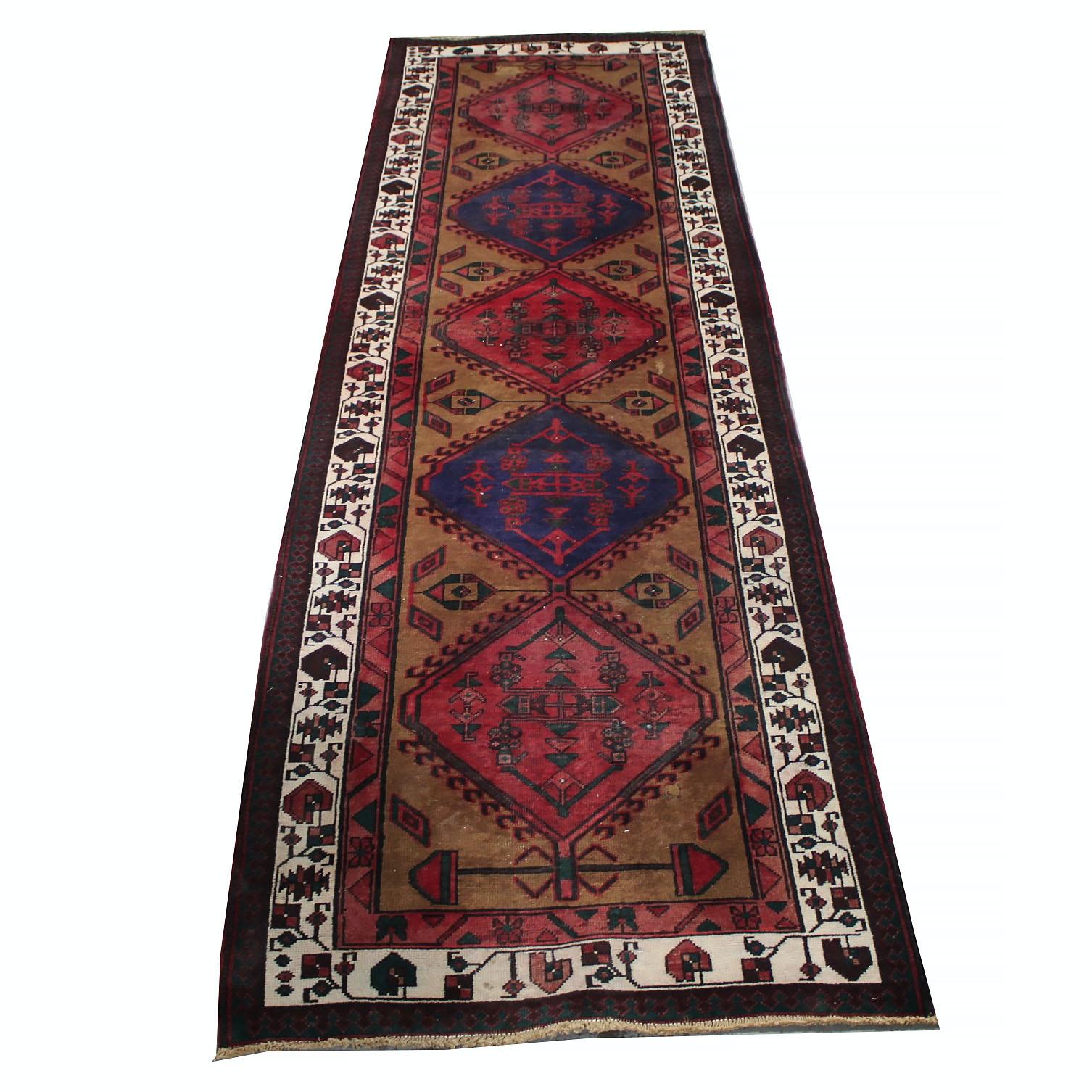 Hand-Knotted Persian Karaja Heriz Rug Runner