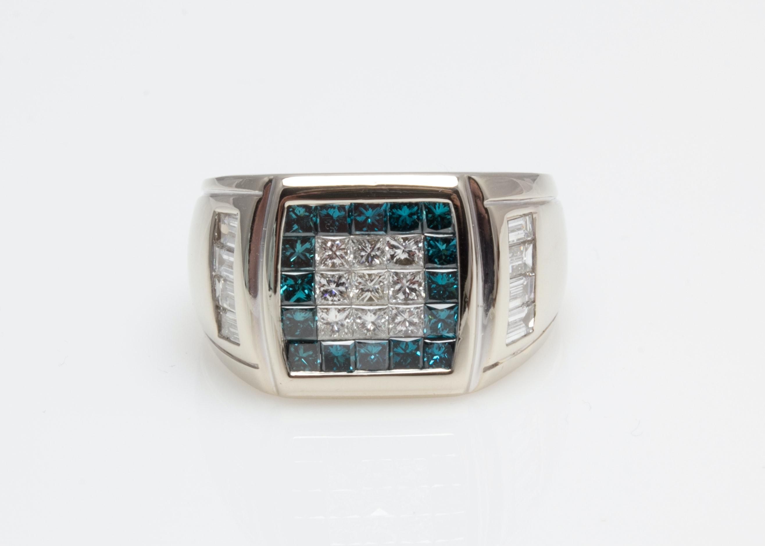 18K White Gold 1.90 CTW White and Blue Diamond Ring
