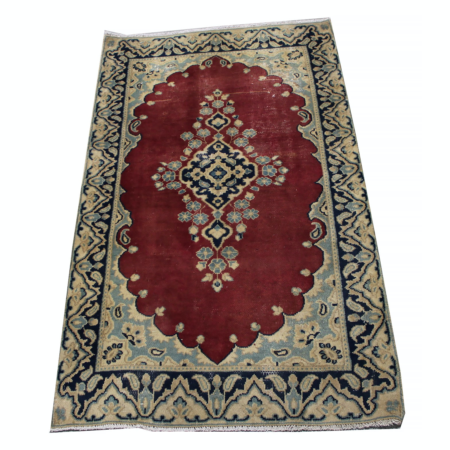 Vintage Hand-Knotted Persian Lavar Kerman Wool Accent Rug