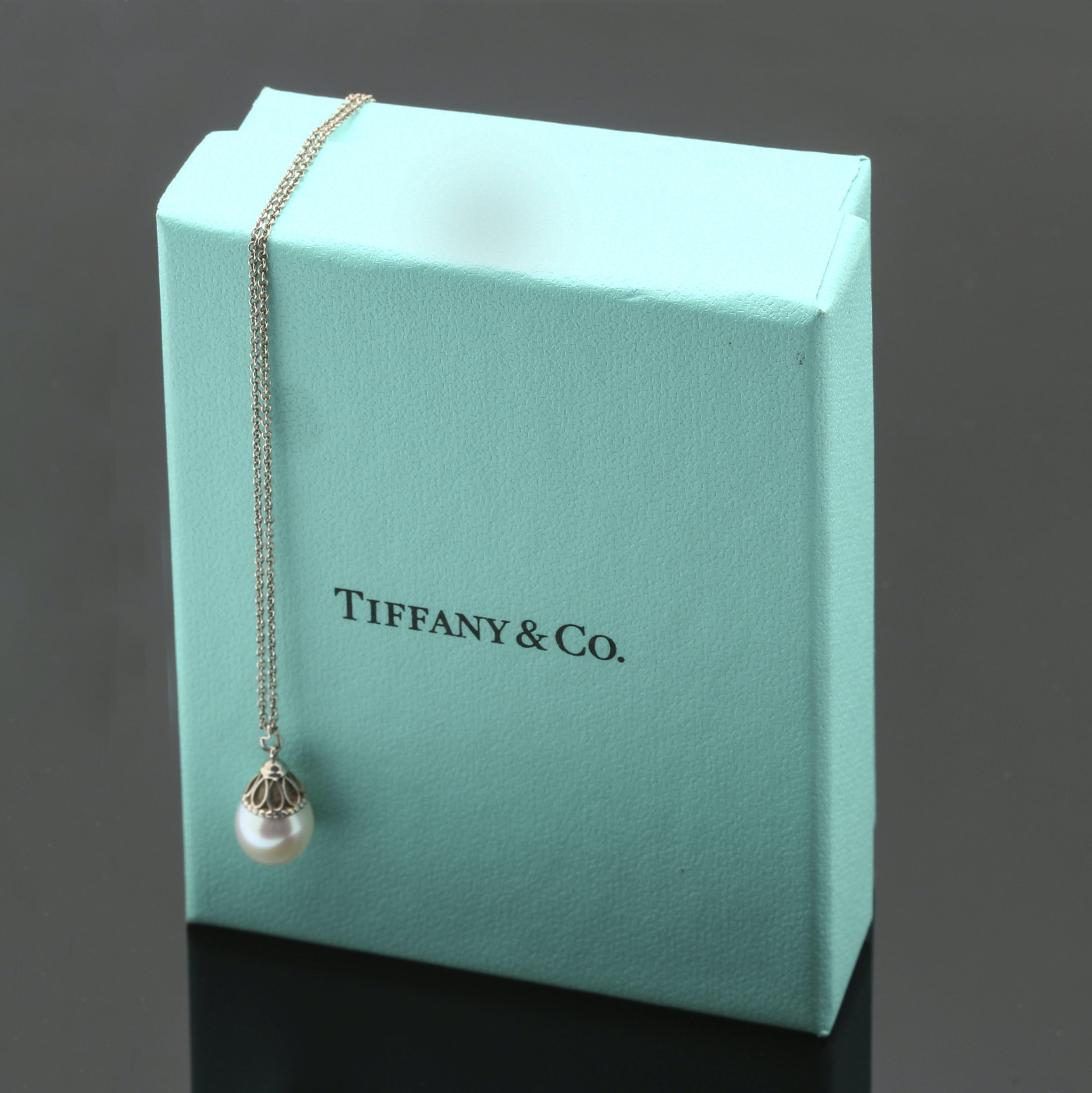 "Tiffany & Co. Sterling Silver Pearl ""Ziegfeld Collection"" Pendant Necklace"