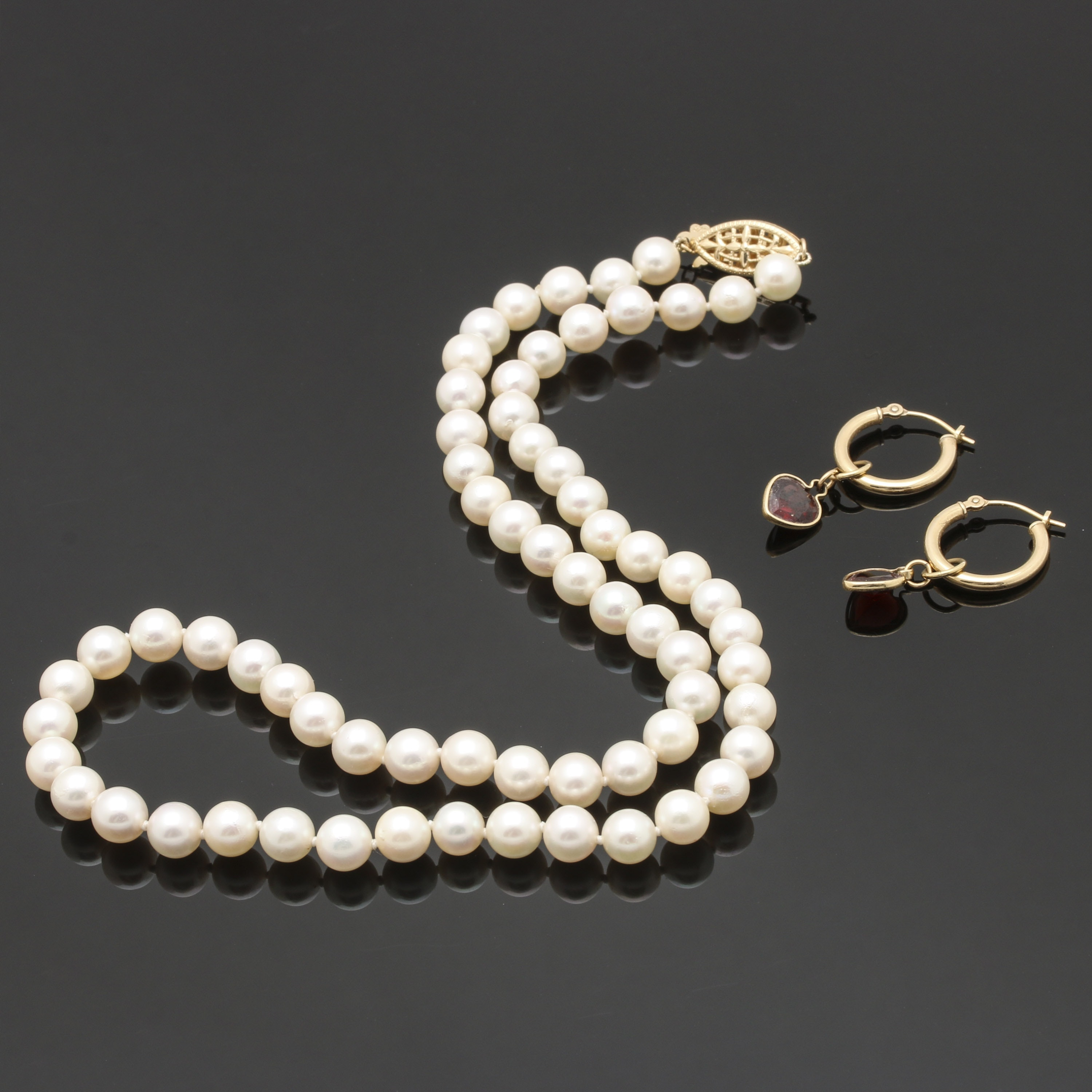 Selection of 14K Yellow Gold Cultured Pearl Necklace and Garnet Heart Earrings