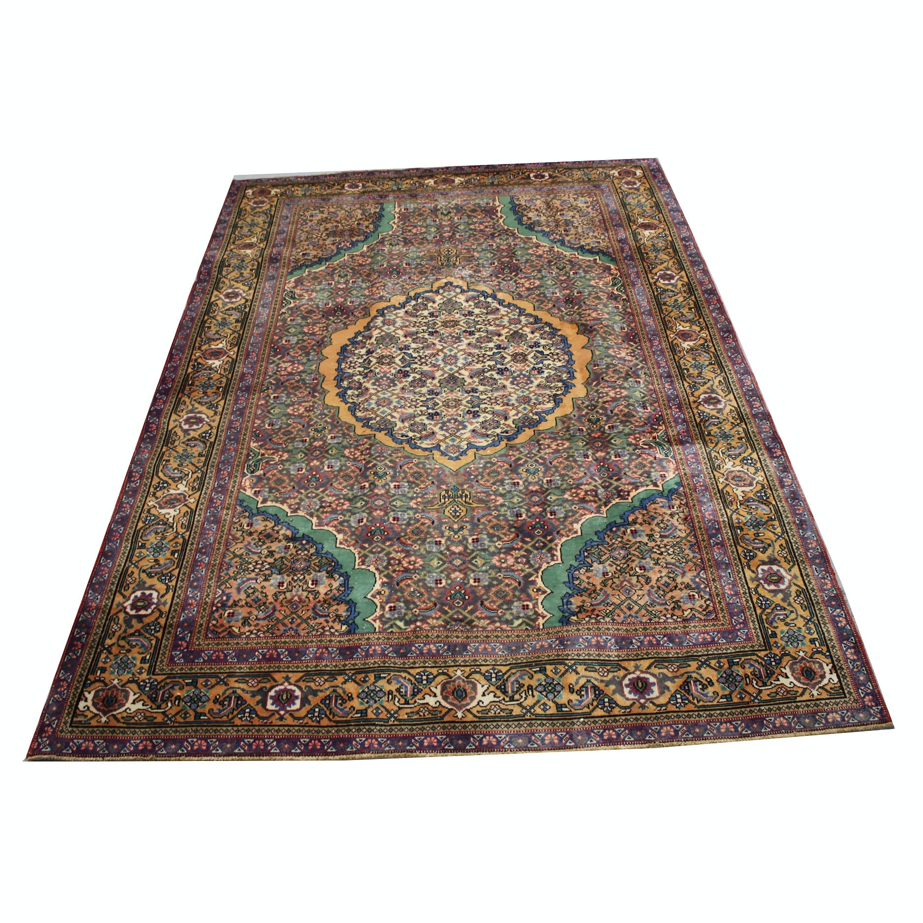 Vintage Hand-Knotted Persian Moud Bijar Wool Area Rug