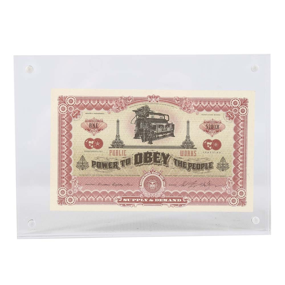 """Shepard Fairey """"2 Sides of Capitalism"""" Signed Obey Bill in Acrylic Block"""