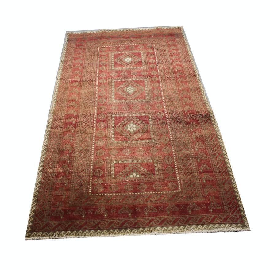 Vintage Hand Knotted Afghani Purdah Wool Long Rug Ebth