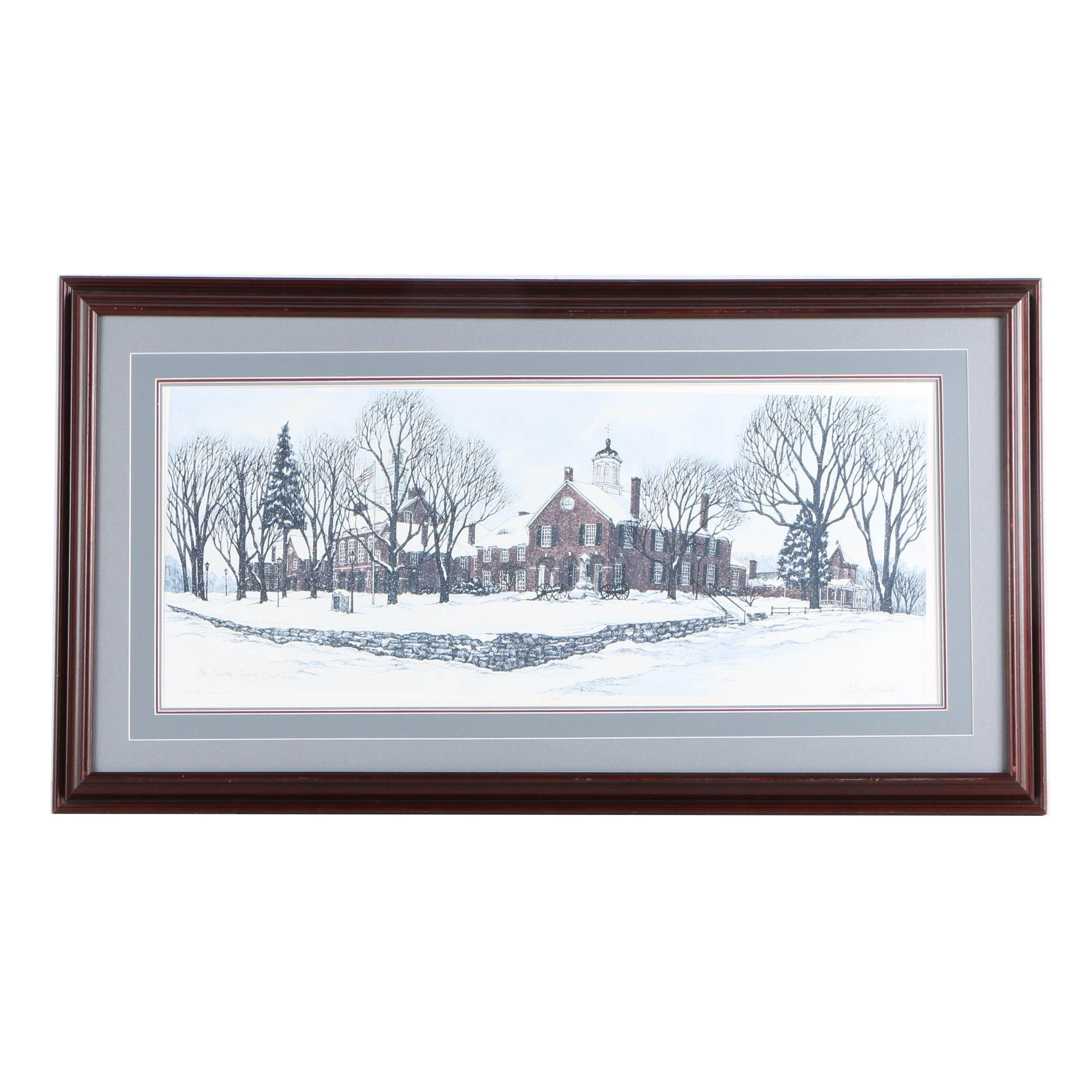 """Ellen Jones Limited Edition Offset Lithograph """"The Fairfax County Courthouse"""""""
