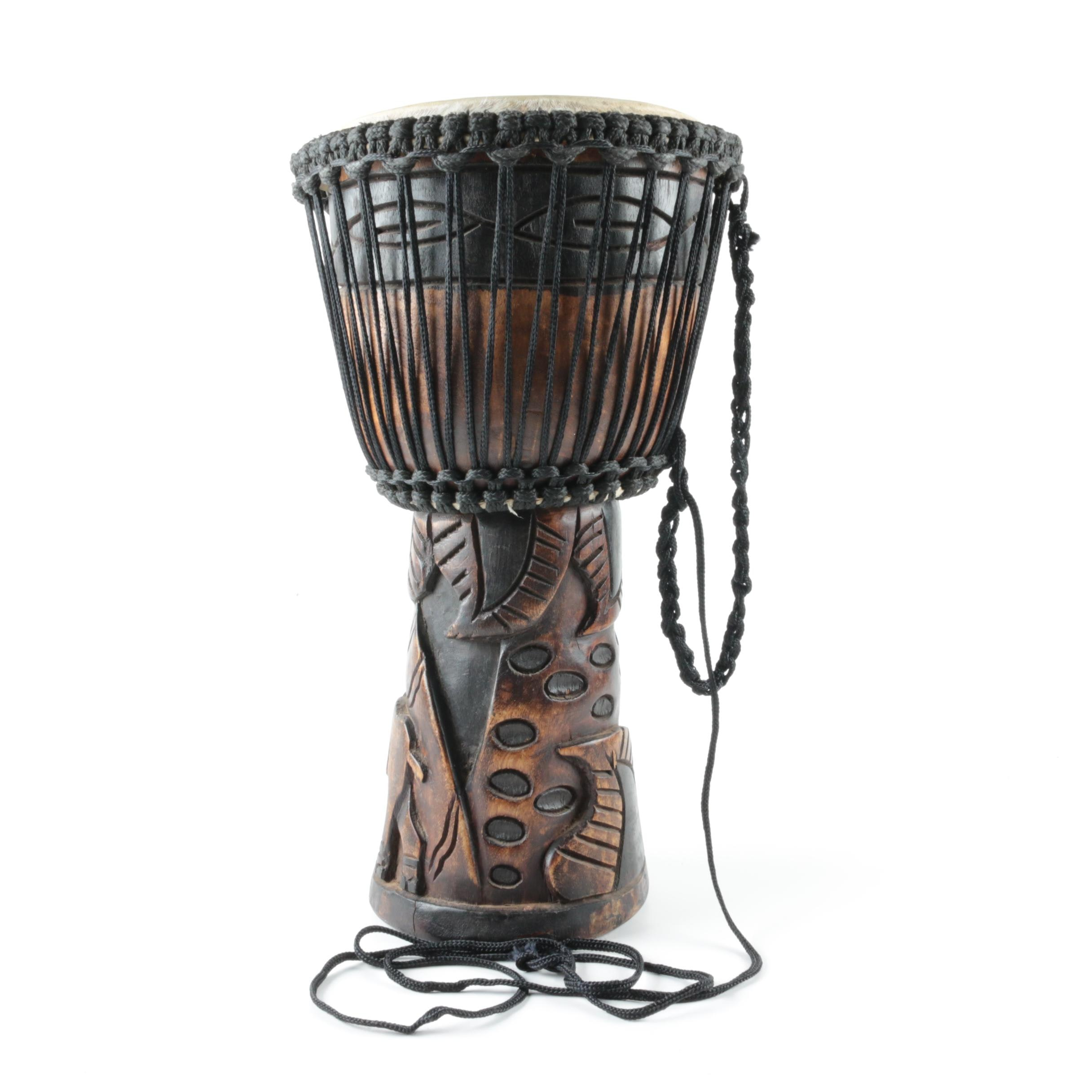 African Style Carved Wood Djembe