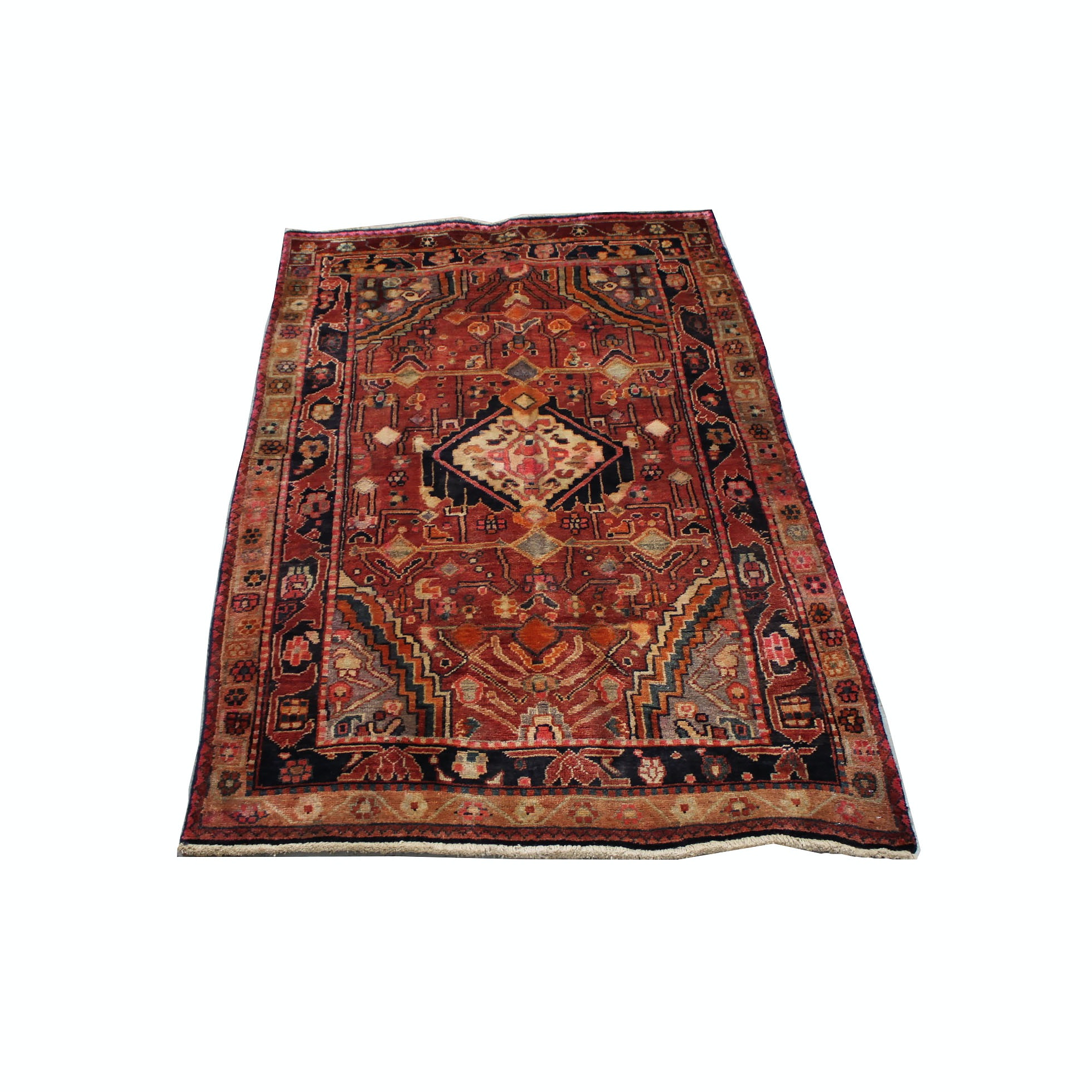 Vintage Hand-Knotted Persian Viss Heriz Wool Area Rug