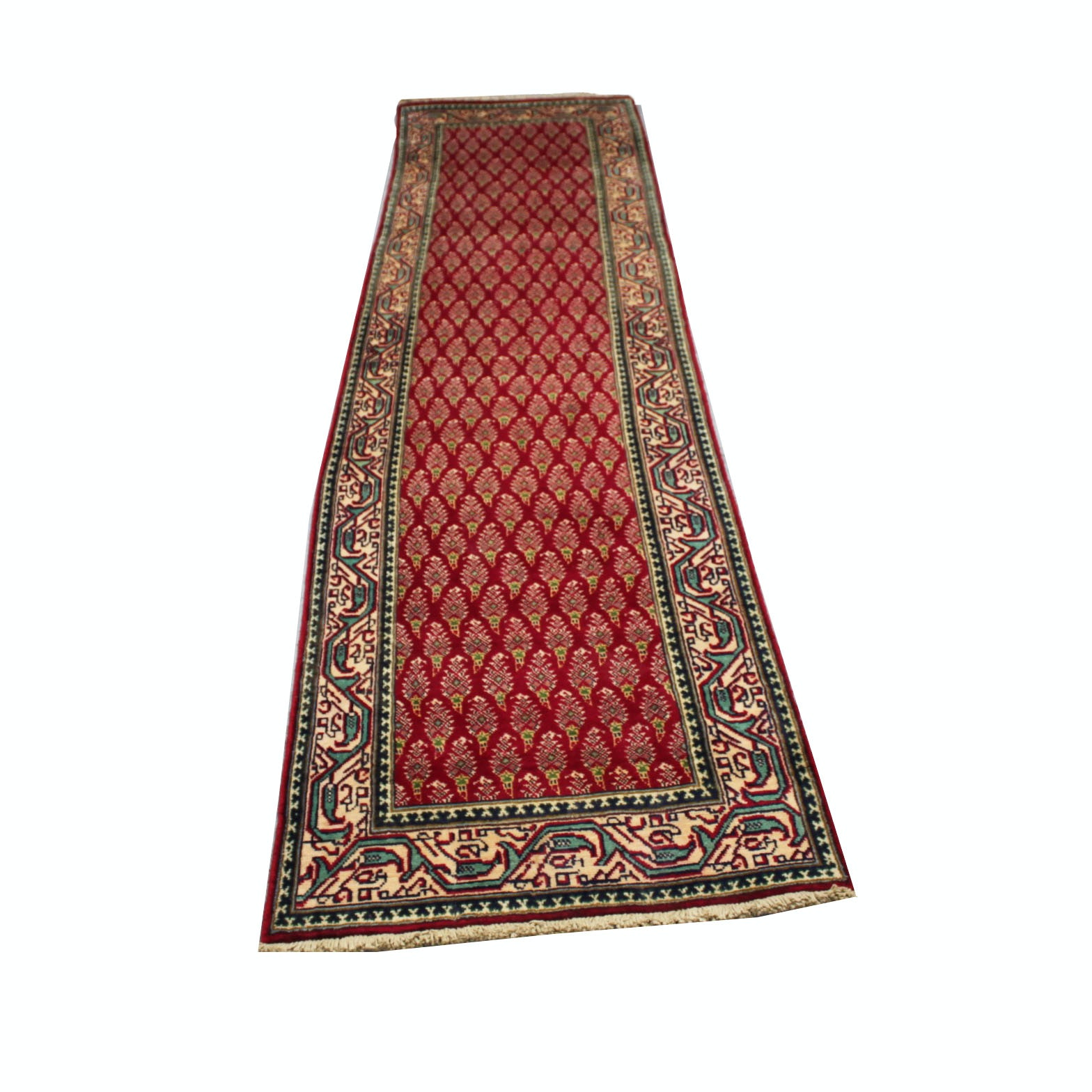 Vintage Hand-Knotted Persian Tabriz Wool Carpet Runner
