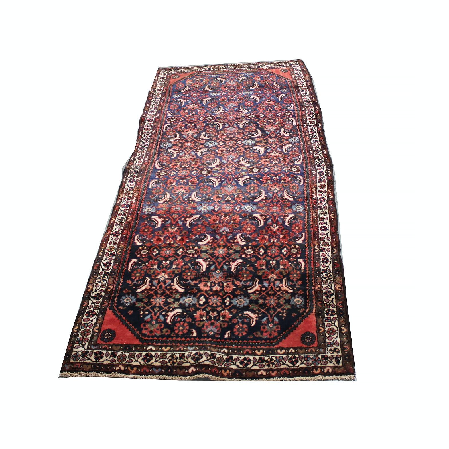 Vintage Hand-Knotted Persian Lilihan Wool Long Rug