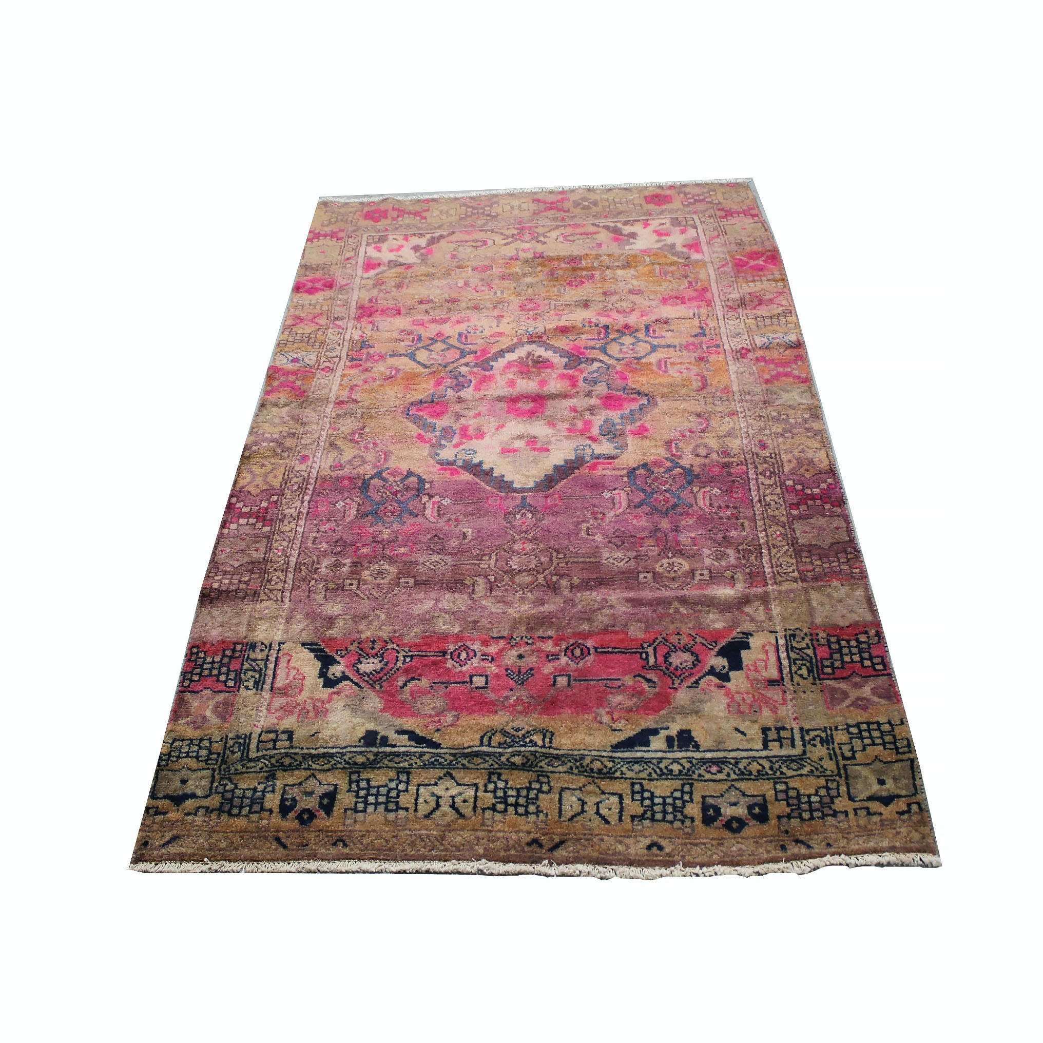 Vintage Hand Knotted Anatolian Wool Area Rug