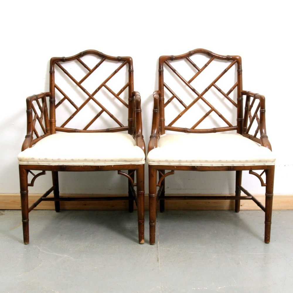 Pair of Chinese Chippendale Style Faux Bamboo Chairs