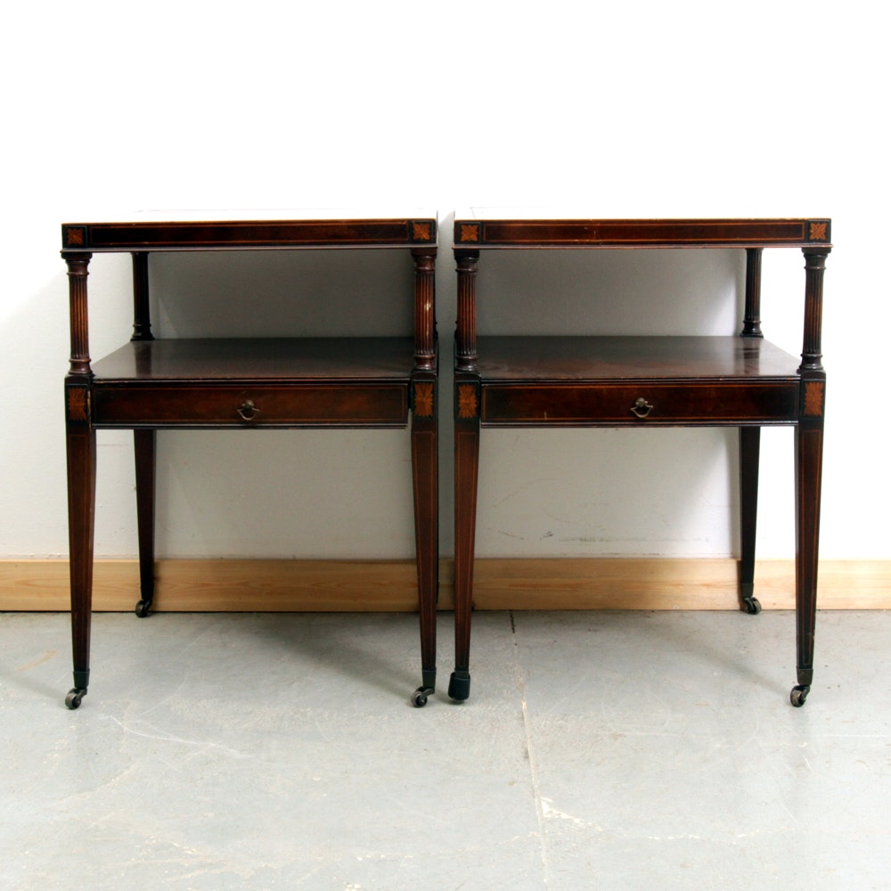 Pair Of Vintage Leather Top Weiman End Tables ...