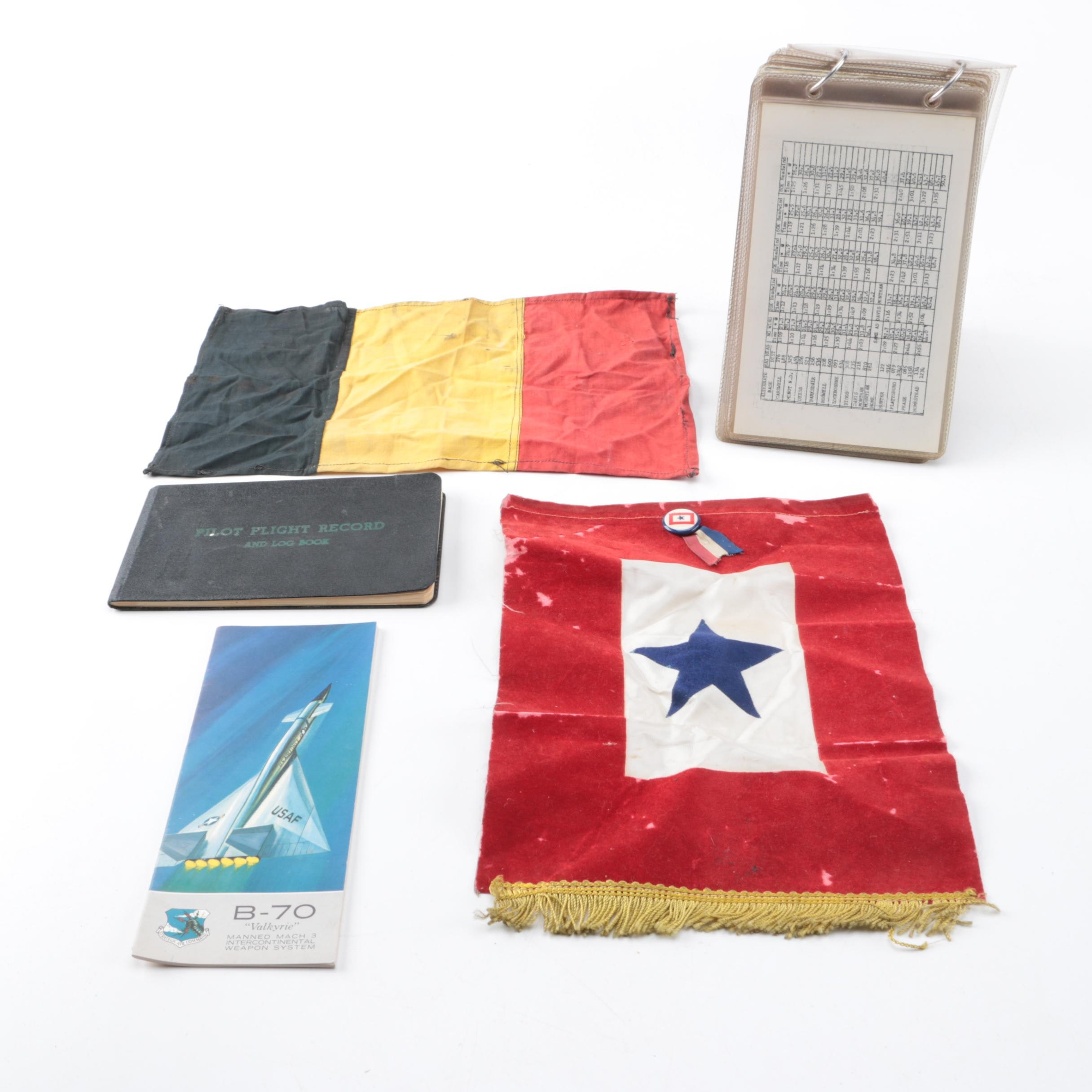 Vintage Pilot's Charts and Flight Log, with Blue Star Pillow Cover