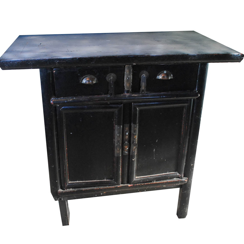 Black Lacquered Asian Cabinet