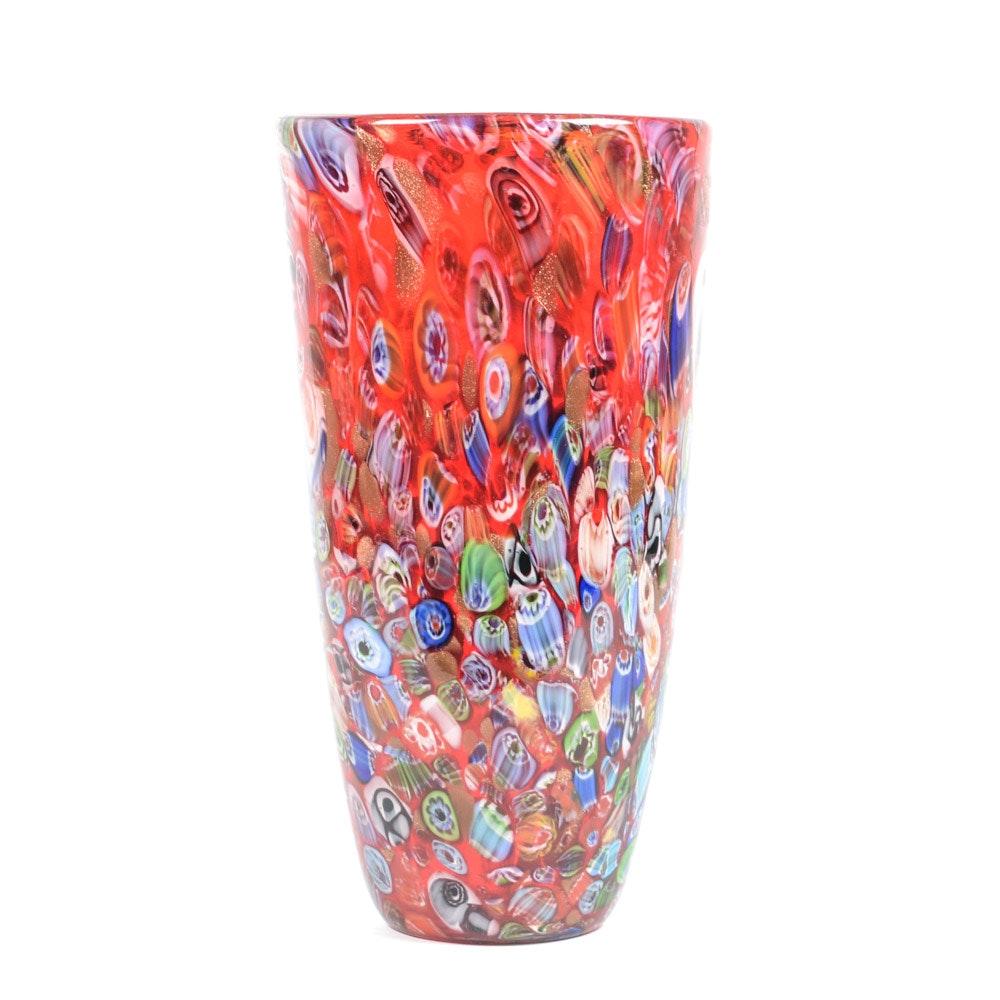 Murano Style Millefori Art Glass Vase