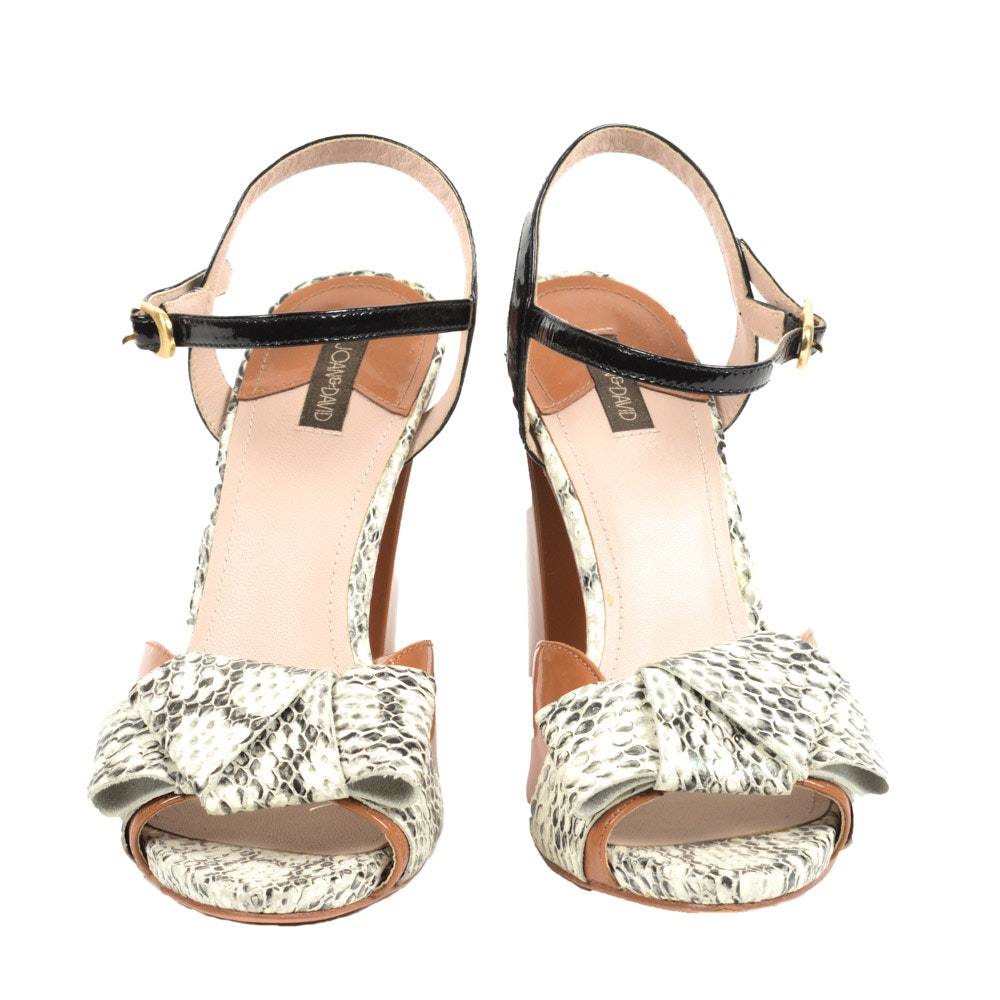 Joan & David Reptile Print and Patent Leather Heeled Sandals