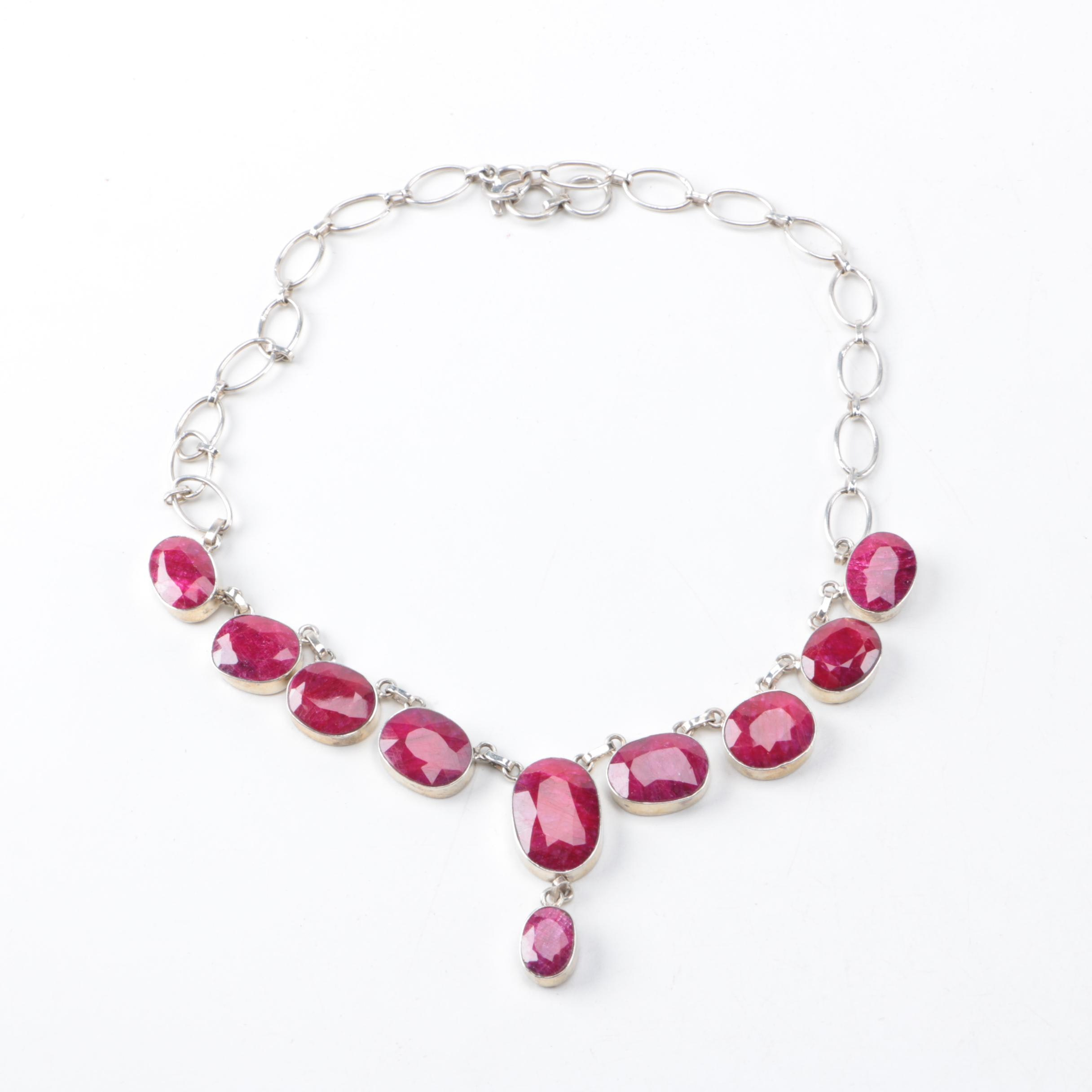 Sterling Silver Corundum Necklace