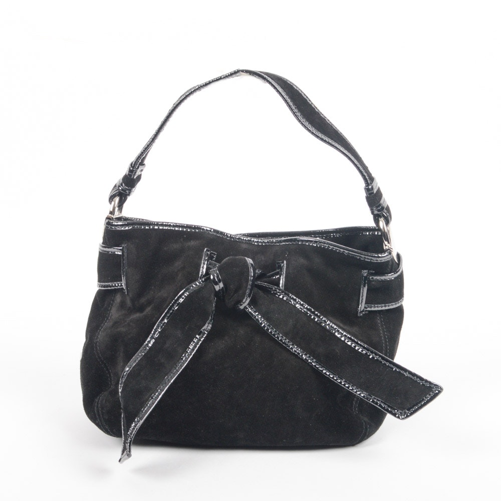 Kooba Black Suede and Patent Leather Handbag