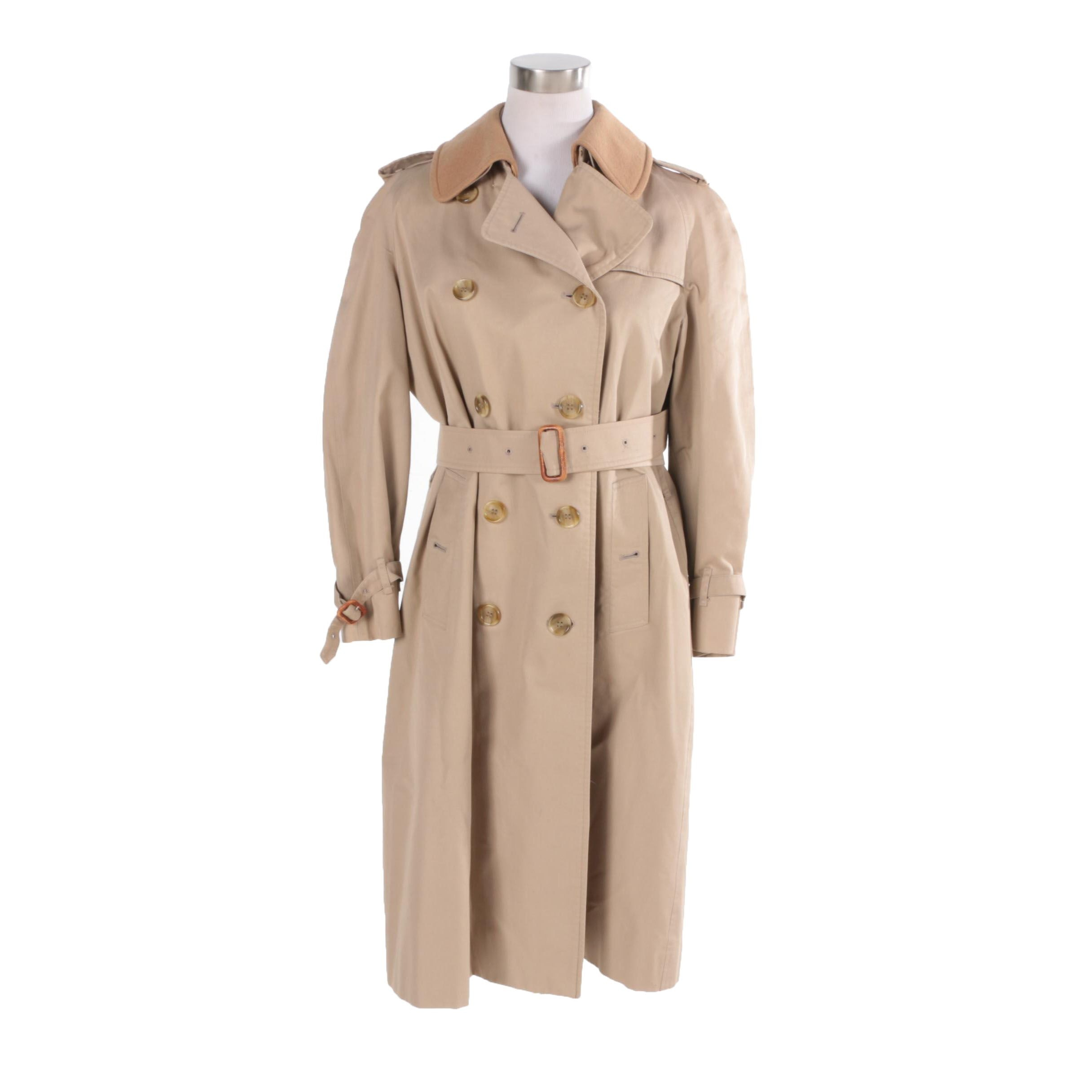 Womens 1980s Burberry Trench Coat with Removable Wool Lining