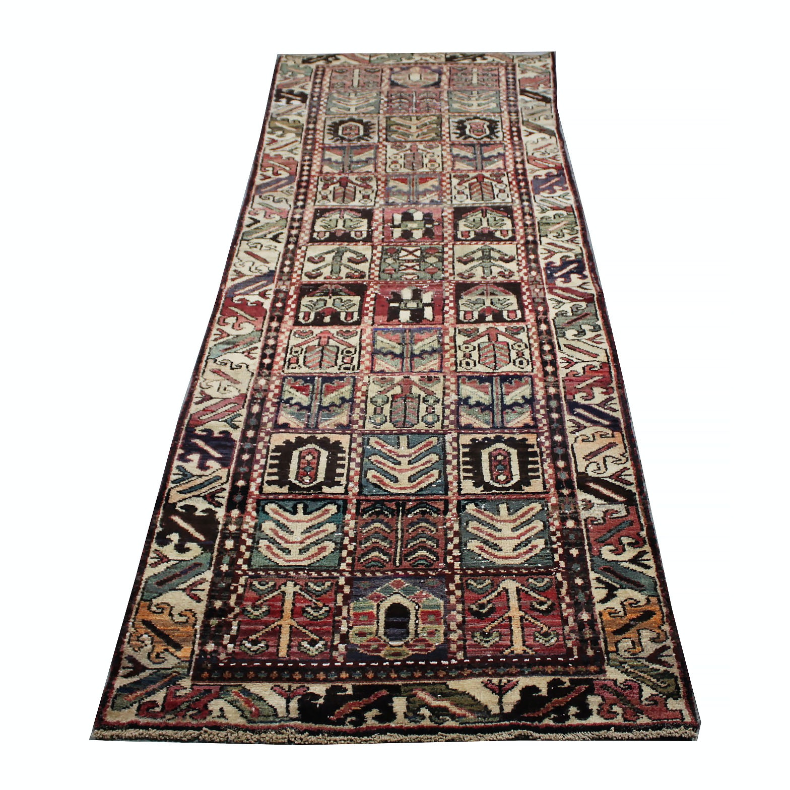 Vintage Hand-Knotted Persian Bakhtiari Carpet Runner