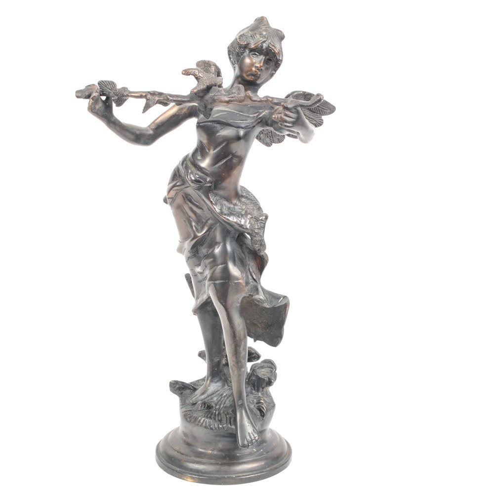 Bronze Sculture of Sprite with Branch