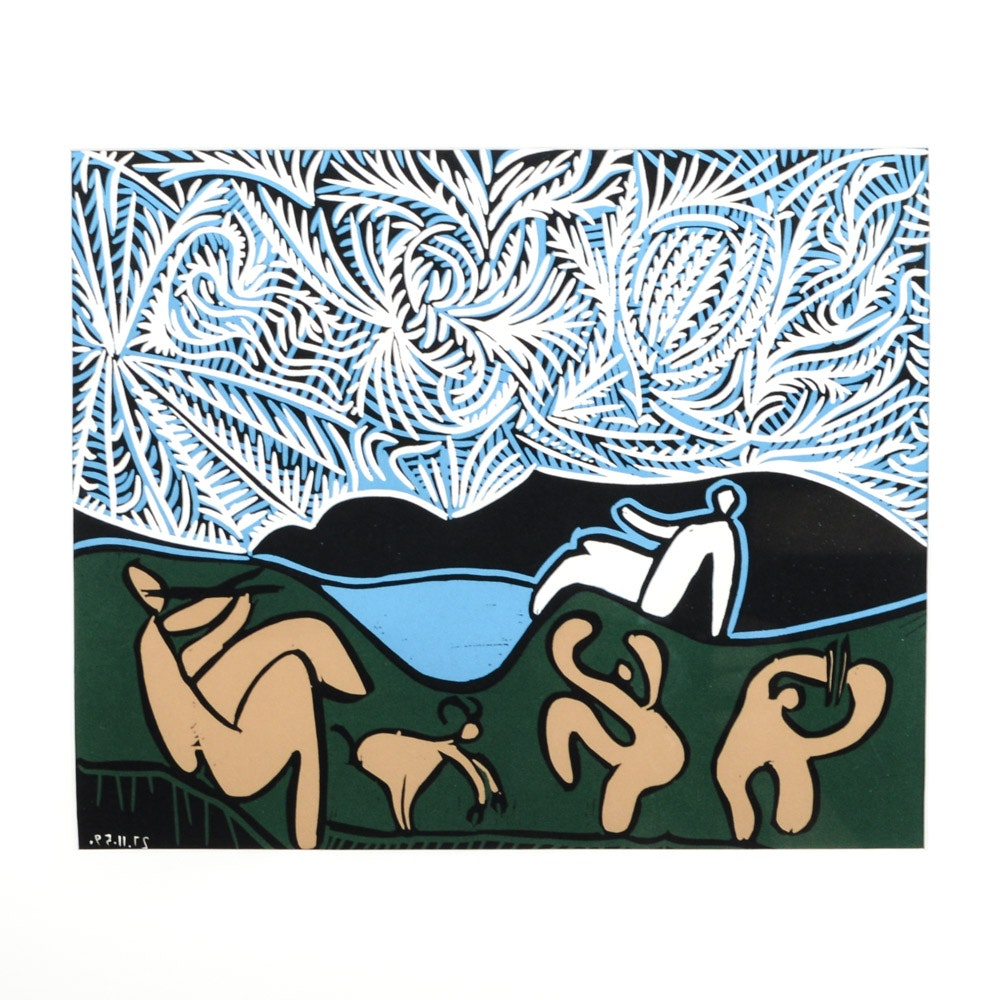 "Pablo Picasso 1962 Color Linocut ""Bacchanal with Goat"""