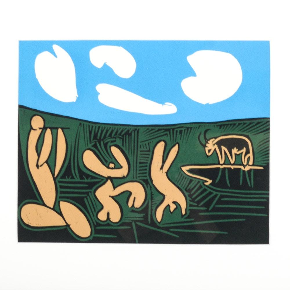"""Pablo Picasso 1962 Color Linocut """"Bacchanals with Four Clouds"""""""