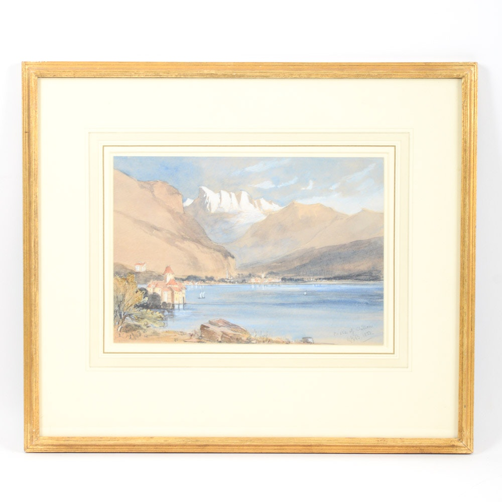 "1853 Watercolor Attributed to George Barnard ""The Chateau de Chillon"""