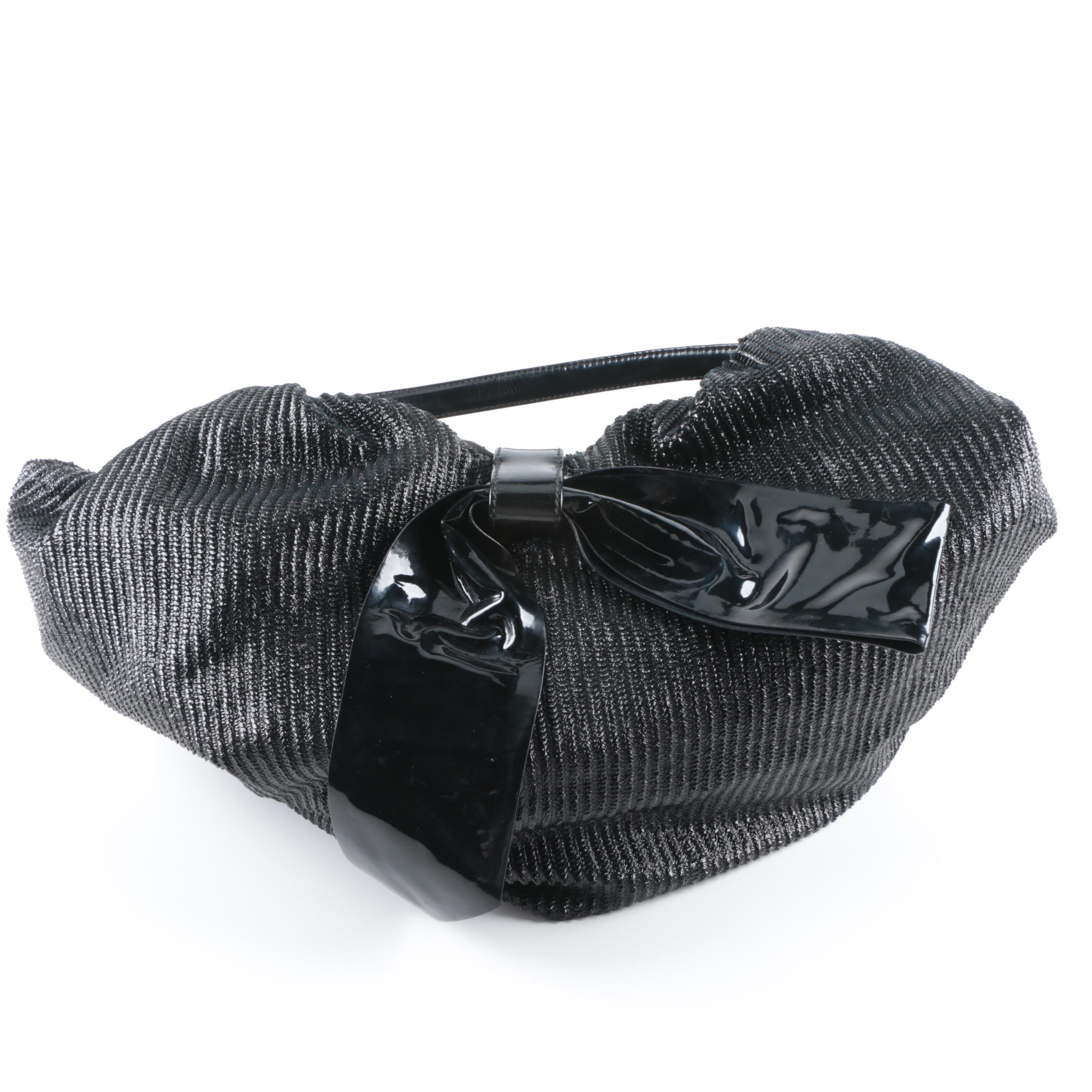 Valentino Garavani Textured and Patent Leather Handbag