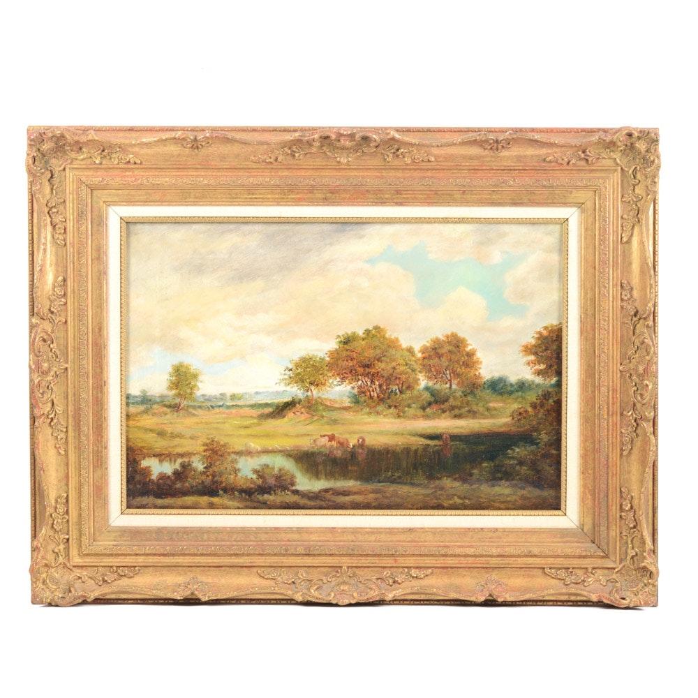 R. Pembery 19th Century English School Oil on Canvas Landscape