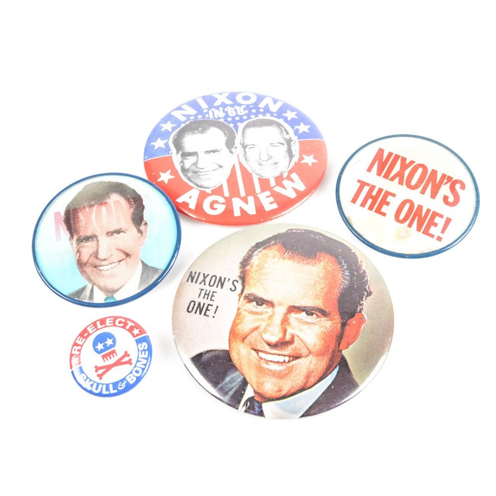 Political Pins Featuring Richard Nixon Campaign