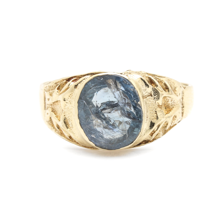 14K Yellow Gold 2.29 CT Sapphire Ring