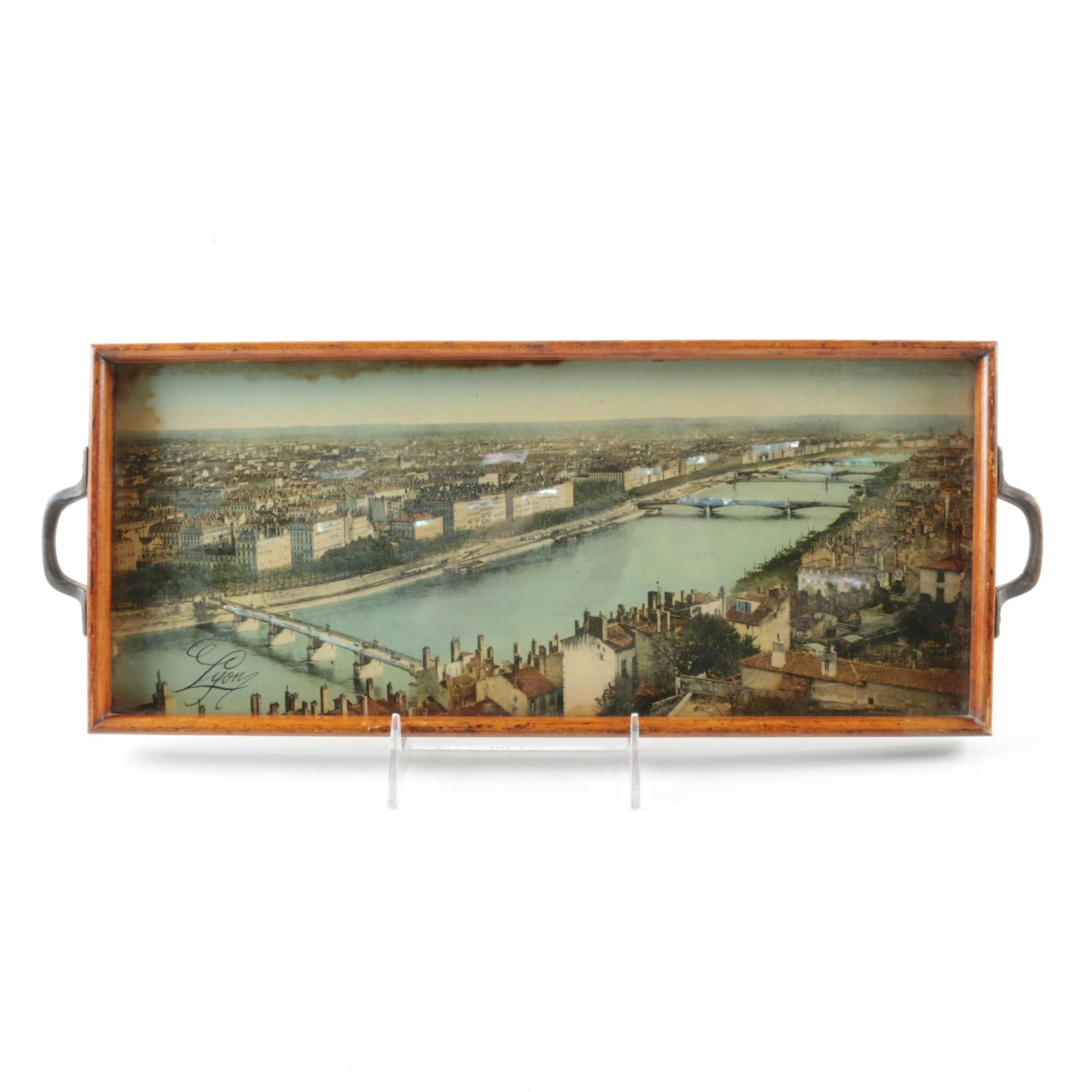 Vintage Serving Tray with Image of Lyon, France