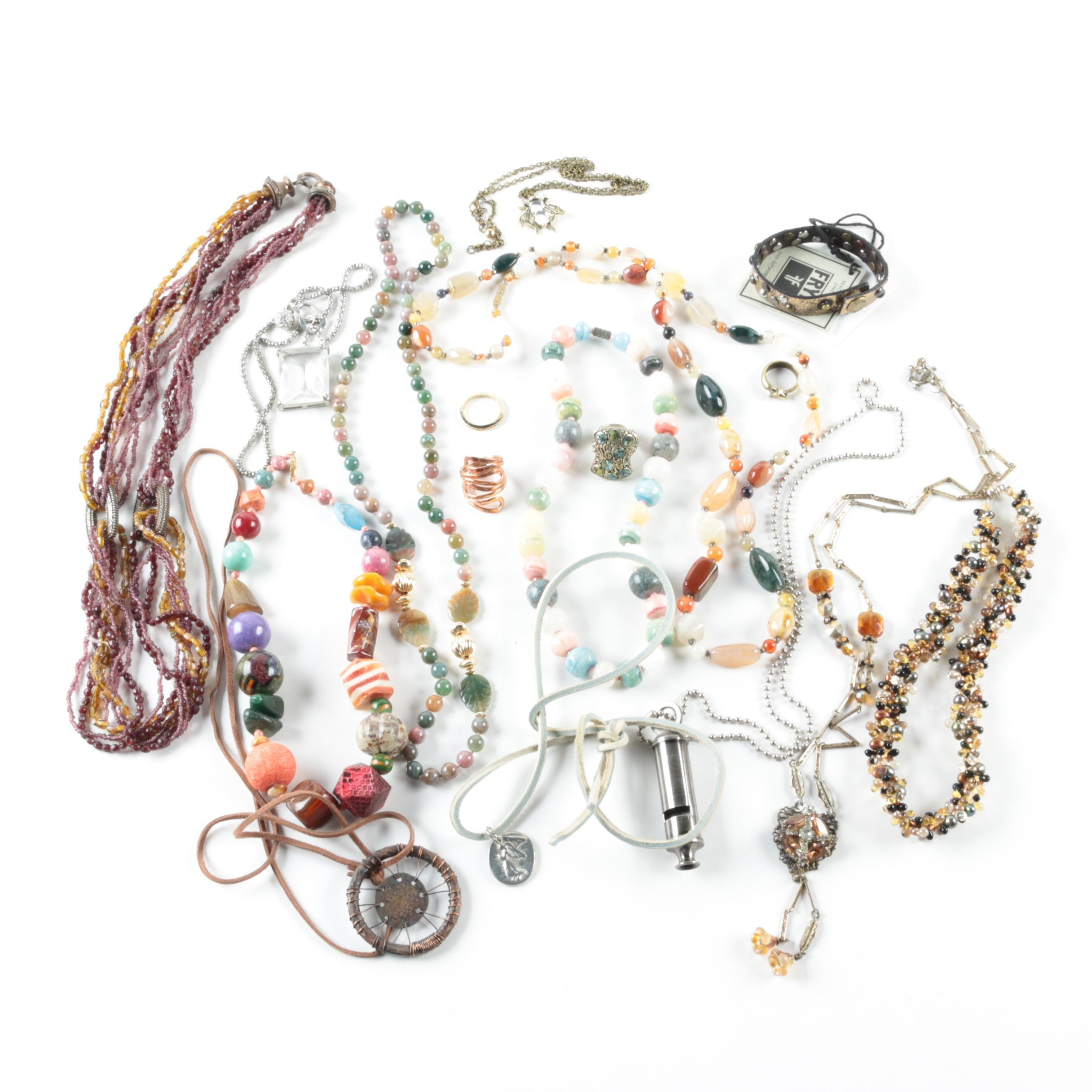 Selection of Gemstone Beaded Rings and Necklaces Featuring Lexi
