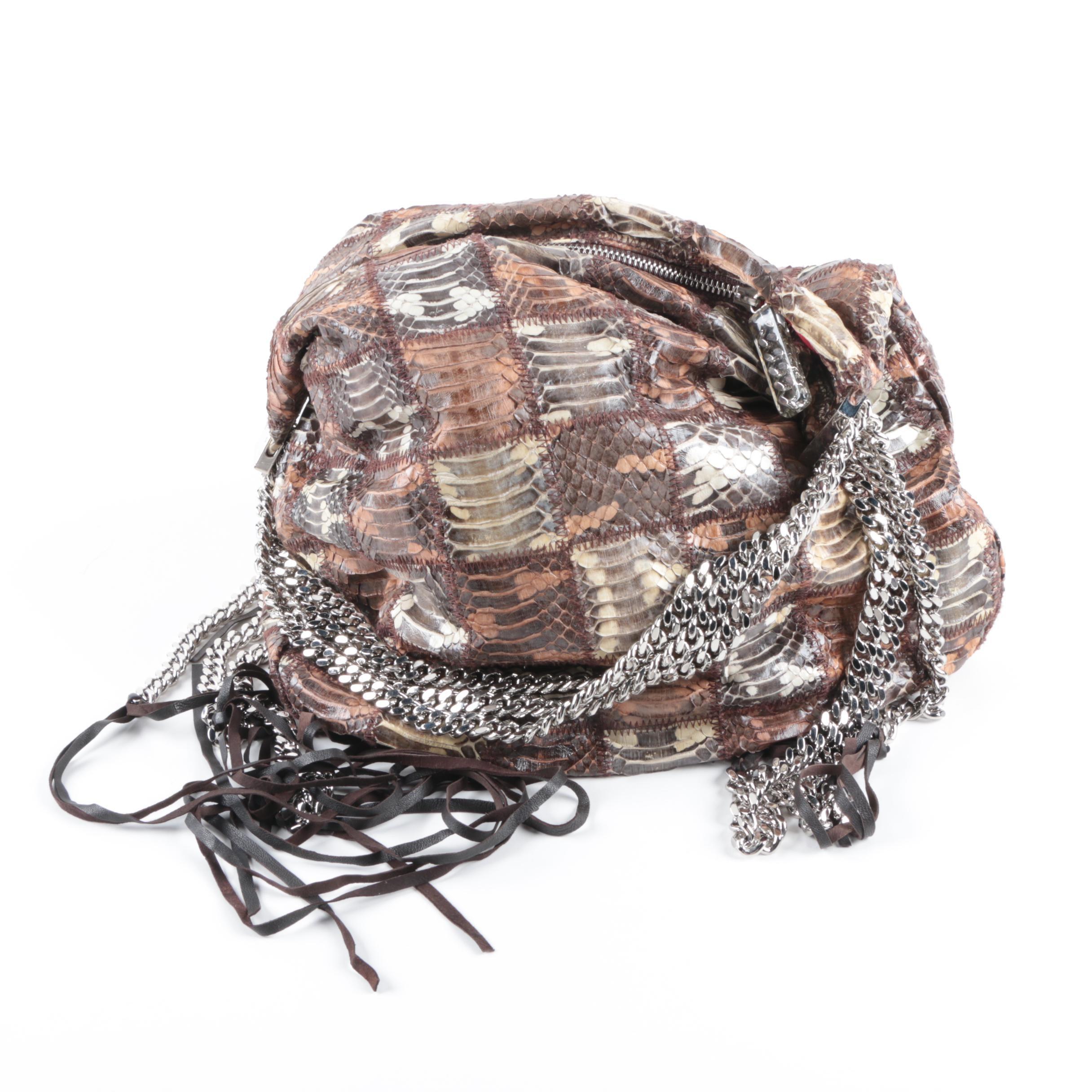 Christian Louboutin Patchwork Snakeskin Marianna Biker Hobo Bag