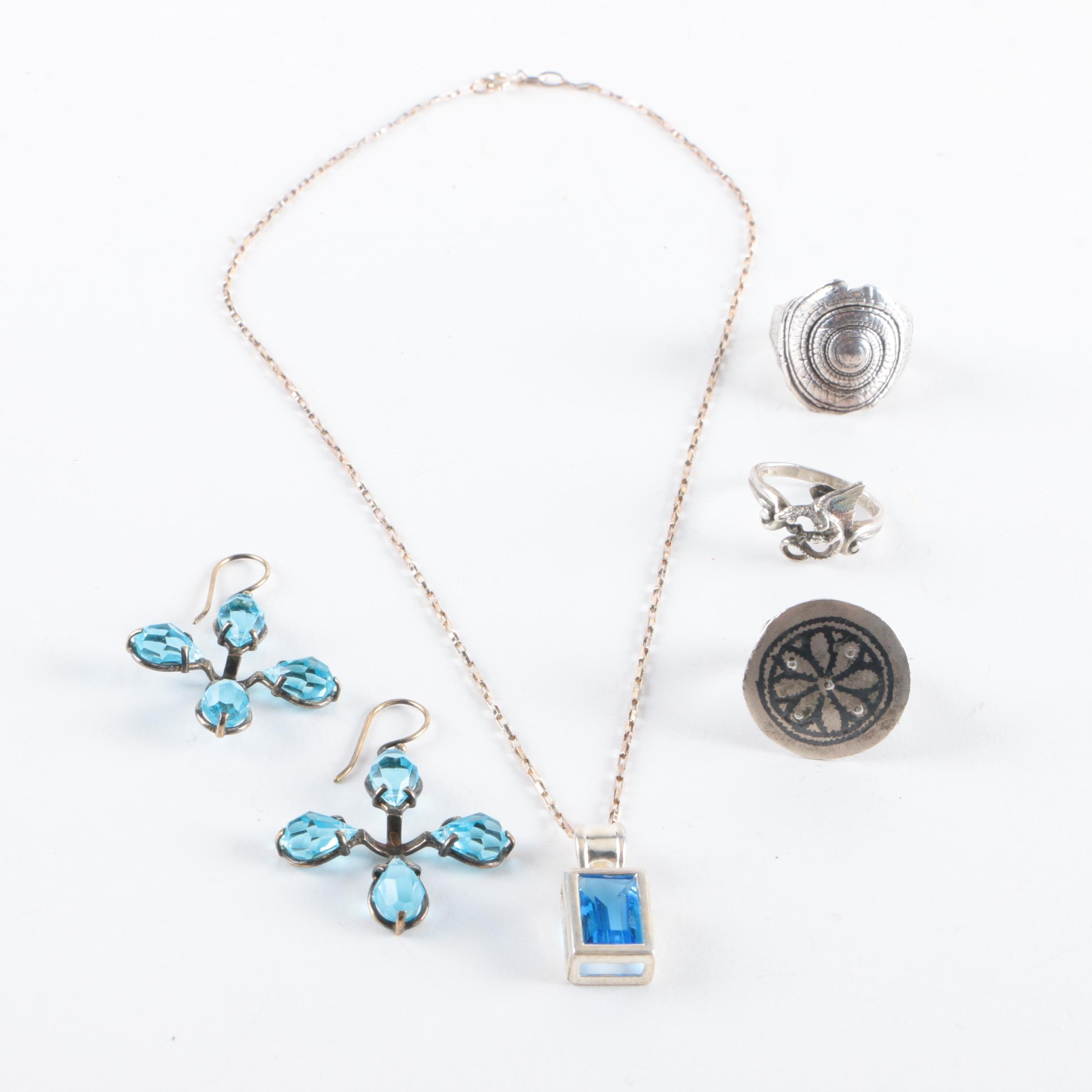 Selection of Silver Glass Jewelry