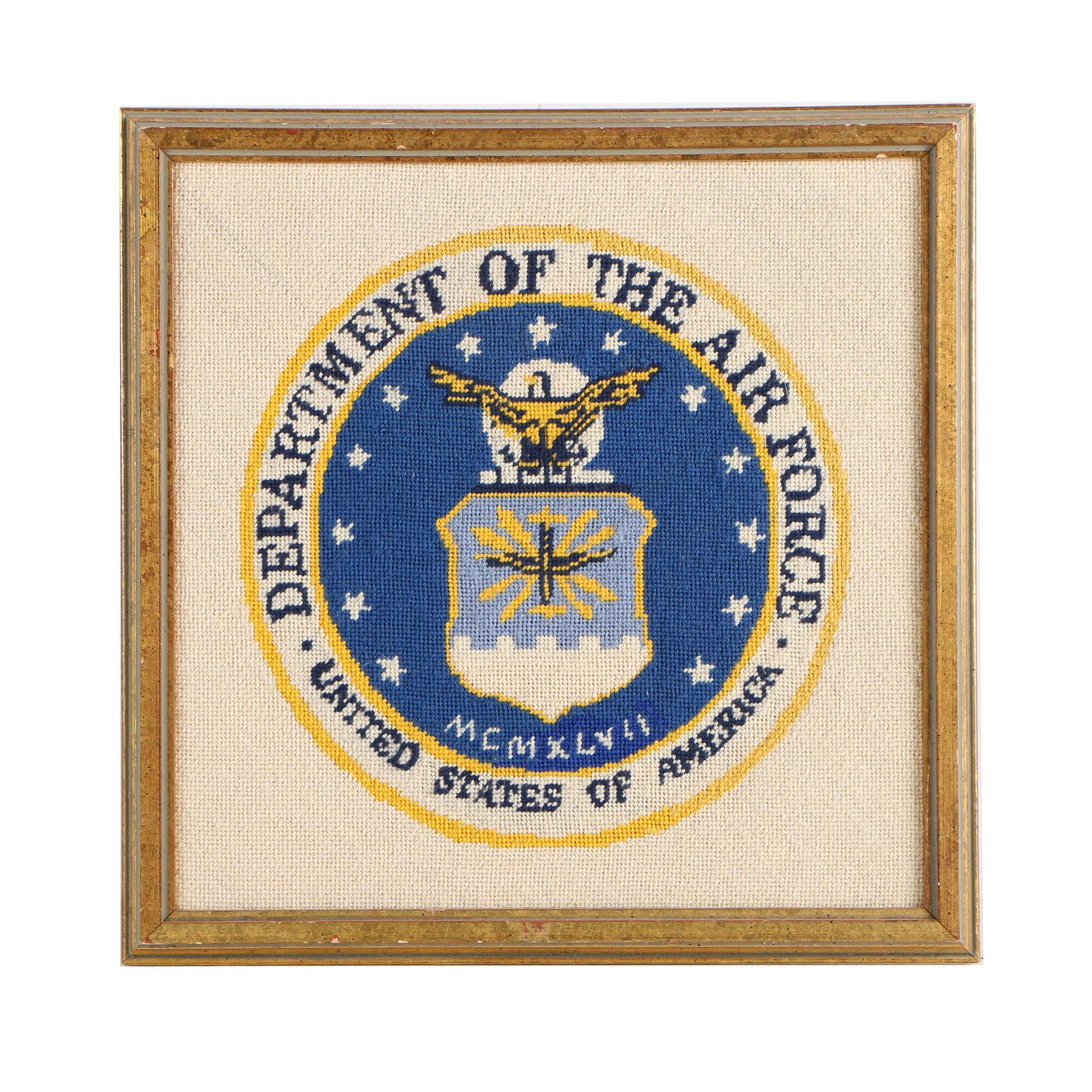 Needlepoint of the Air Force Seal