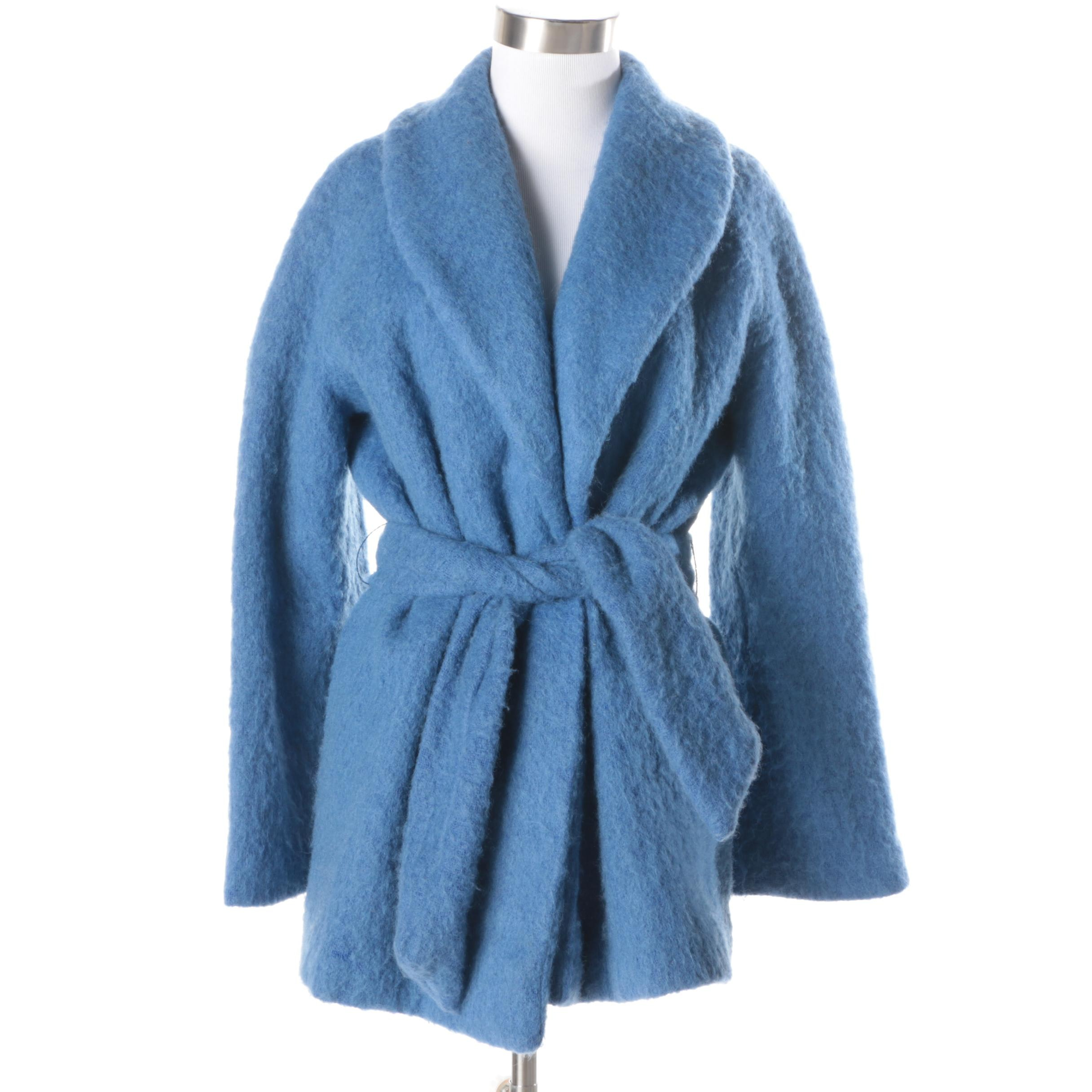 1960s Vintage Emily Wetherby Blue Felted Wool Coat